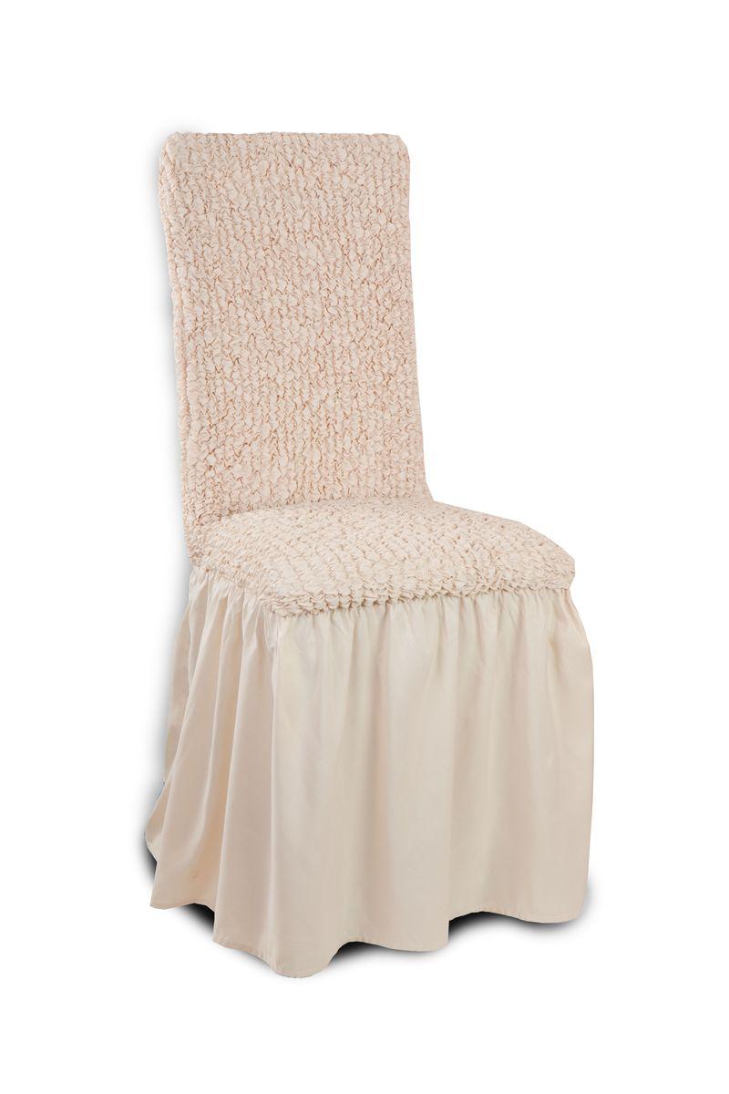 Чехол на стул Еврочехол «Микрофибра», с юбкой, цвет: ванильный, 40-60 см  диван кровать бристоль