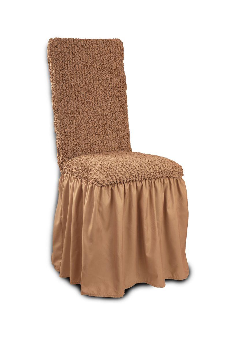 Чехол с юбкой на стул Еврочехол «Микрофибра», цвет: кофейный, 40-60 см  тумбочки в зал фото