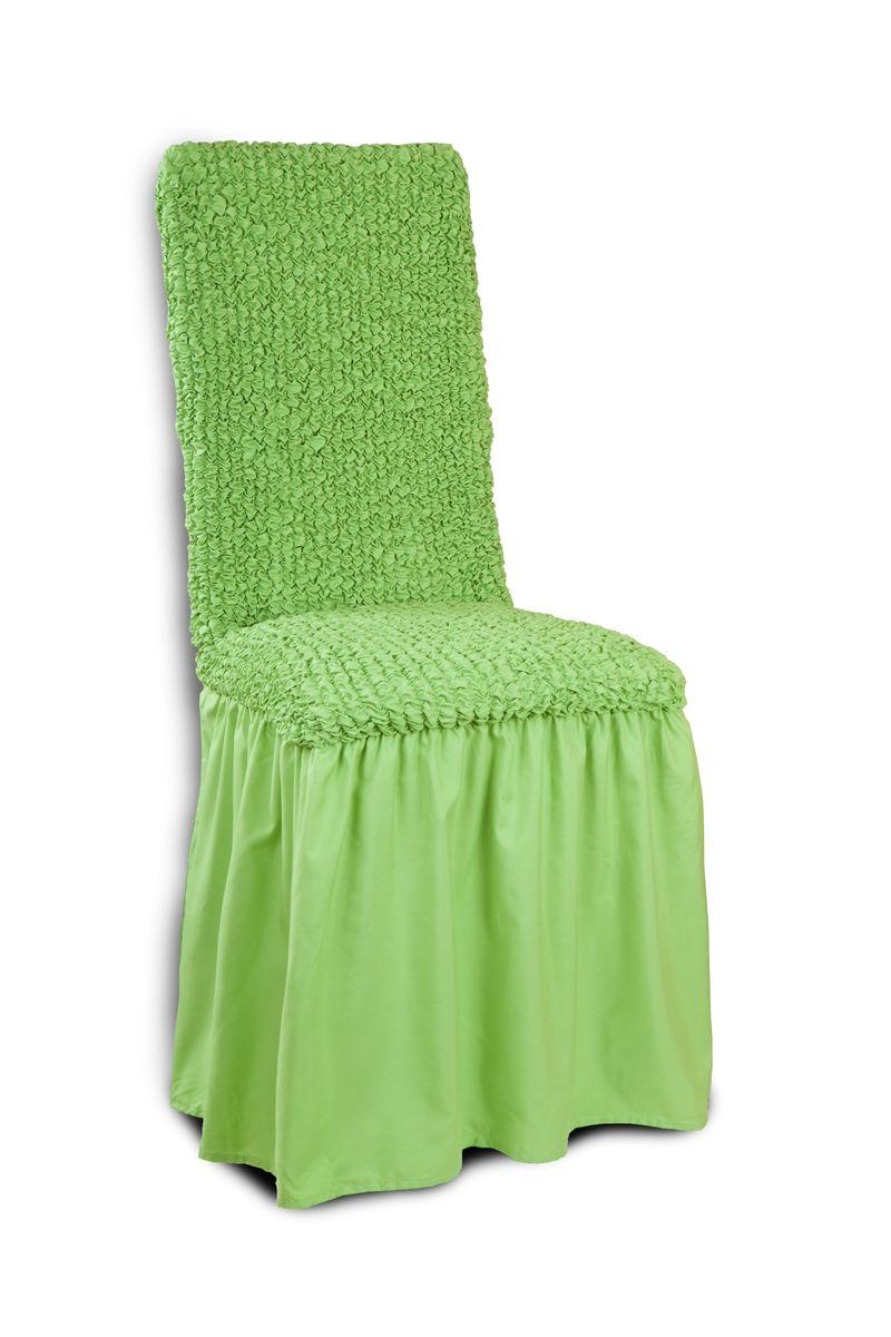 """Чехол с юбкой на стул Еврочехол """"Микрофибра"""", цвет: зеленое яблоко, 40-60 см"""