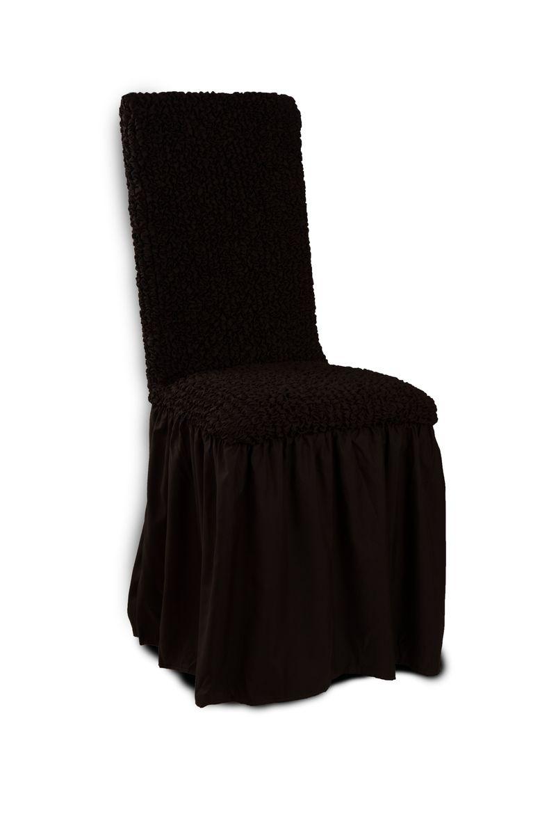 Чехол с юбкой на стул Еврочехол «Микрофибра», цвет: черный шоколад, 40-60 см  пеленальный комод с полками сверху