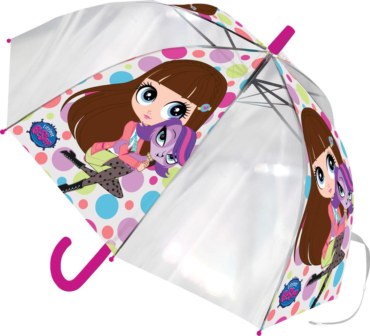Зонт-трость детский Littlest Pet Shop, цвет: розовый, белый, сиреневый, салатовыйLPCS-UA1-U8GЯркий детский зонт-трость Littlest Pet Shop станет замечательным подарком вашему ребенку и доставит ему много удовольствия. Его форма надежно защитит ребенка в дождливую погоду. Все выступающие металлические части закрыты пластиком, что является защитой от возможных повреждений. Купол зонта выполнен из полиэфирного эластомера и оформлен ярким рисунком. Закрывается хлястиком на кнопку. Каркас зонта выполнен из восьми металлических спиц и оснащен удобной закругленной пластиковой рукояткой. Зонт раскладывается автоматически и складывается механически.
