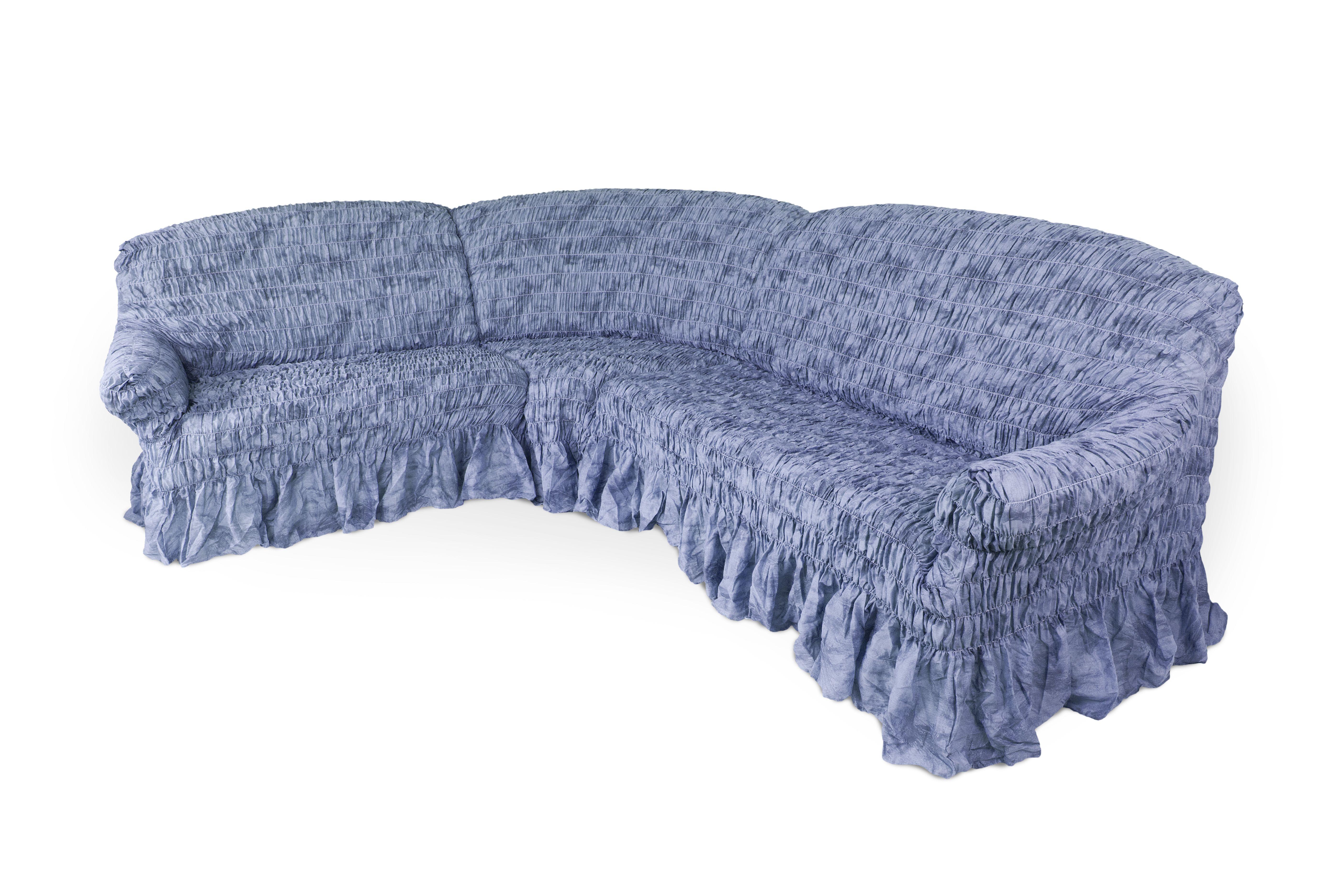 Еврочехол на классический угловой диван Еврочехол Фантазия, цвет: синий. 2/10-82/10-8Чехол Фантазия защитит Вашу мебель от ежедневных воздействий внешних факторов. Натуральный состав ткани гипоаллергенен, а потому безопасен для малышей или людей пожилого возраста. Синий цвет всегда был популярным как в сдержанном классическом стиле интерьера или в стилистике модерна, где преимущественно распространены однотонные элементы декора, так и в романтическом провансе, где приглушенные оттенки лаконично и гармонично сочетаются с иными чертами. Предлагаемый чехол для мебели создаст атмосферу утонченности и элегантности как городских, так и загородных домов. Наличие оборки (юбки) по нижнему краю чехла придает мебели особое очарование, изюминку, привнося в интерьер помещения уют, свежесть, легкость и мягкость. А сочетание доступной цены и итальянского качества - это еще одно преимущество натяжного чехла. Гостиная, детская, кухня, прихожая или спальня – с таким чехлом любая комната будет смотреться стильно всегда. Состав: 50% хлопок, 50% полиэстер. Растяжимость чехла по...