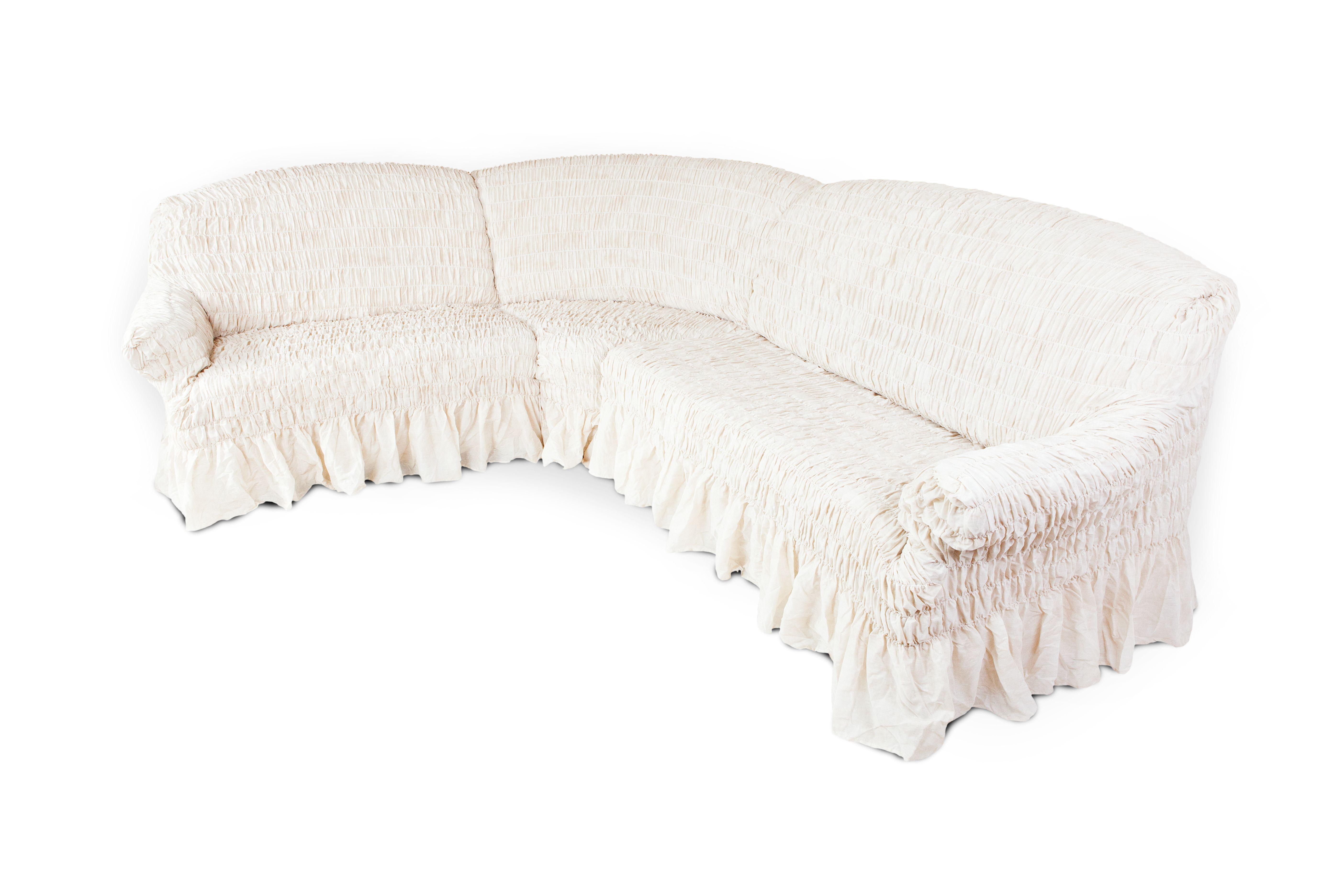 Чехол на угловой диван Еврочехол Фантазия, цвет: молочный, 380-530 см2/12-8Чехол на классический угловой диван Еврочехол Фантазия выполнен из 50% хлопка, 50% полиэстера. Он идеально подойдет для тех, кто хочет защитить свою мебель от постоянных воздействий. Этот чехол, благодаря прочности ткани, станет отличным решением для владельцев домашних животных. Кроме того, натуральный состав ткани гипоаллергенен, а потому безопасен для малышей или людей пожилого возраста. Такой чехол отлично впишется в любой интерьер. Еврочехол послужит не только практичной защитой для вашей мебели, но и приятно удивит вас мягкостью ткани и итальянским качеством производства. Растяжимость чехла по спинке (без учета подлокотников): 380-530 см.