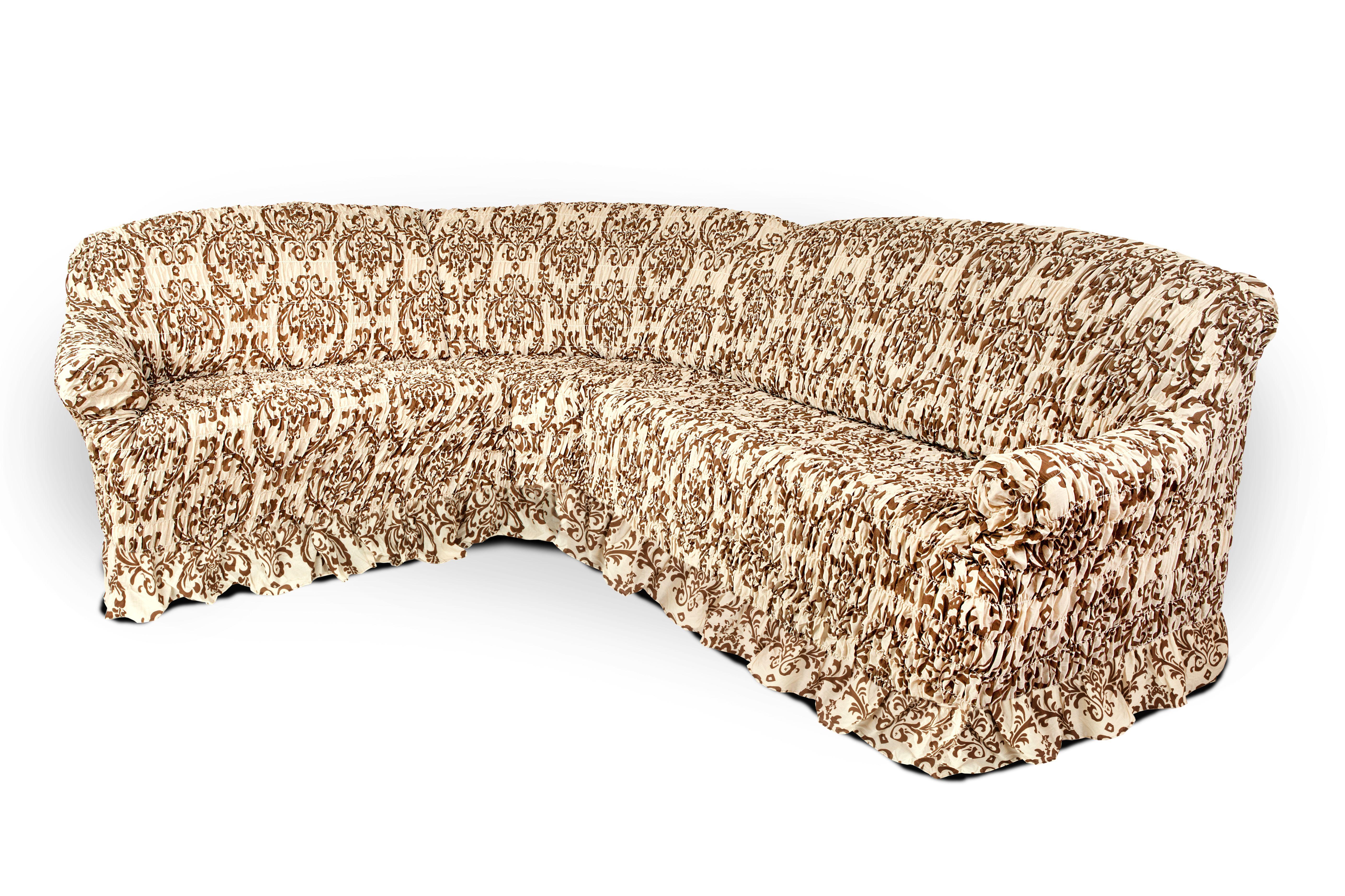 Чехол на угловой диван Еврочехол Фантазия. Венения, 380-530 см2/7-8Чехол на угловой диван Еврочехол Фантазия. Венения выполнен из 50% хлопка, 50% полиэстера. Он идеально подойдет для тех, кто хочет защитить свою мебель от постоянных воздействий. Этот чехол, благодаря прочности ткани, станет отличным решением для владельцев домашних животных. Кроме того, состав ткани гипоаллергенен, а потому безопасен для малышей или людей пожилого возраста. Такой чехол отлично впишется в любой интерьер. Он послужит не только практичной защитой для вашей мебели, но и приятно удивит вас мягкостью ткани и итальянским качеством производства. Растяжимость чехла по спинке (без учета подлокотников): 380-530 см.
