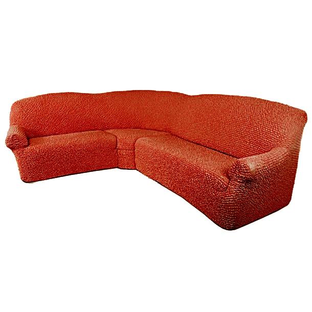 Еврочехол на классический угловой диван «Микрофибра» Терракотовый  диван кровать 130 см ширина