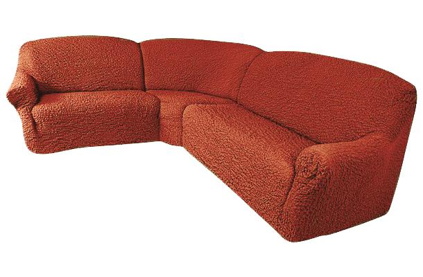 Еврочехол на классический угловой диван «Шинил» Терракотовый  журнальный столик в спальню