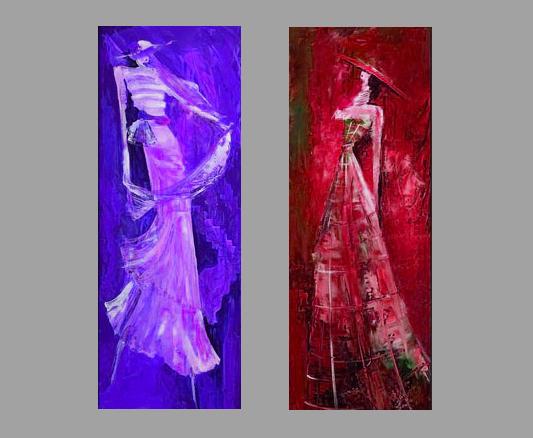 Модульная картина Дамы, 2 части, смешанная техника, холст, подрамник, жикле, акрил, общий размер - 70х60 см, автор Светлана СергееваM3 (70х60)Модульная картина Дамы отлично подойдет для украшения какого-либо ателье, магазина одежды или просто дамской комнаты. Спокойные, некричащие цвета действуют успокаивающе, умиротворяют. Картина небольшая, состоит из двух частей и не потребует много места для расположения. Работы выполнены на холсте, акриловые краски придают дополнительный объем и шарм. Галерейная натяжка на подрамник. При желании можно оформить картины в рамы. Получится интересный стильный диптих.
