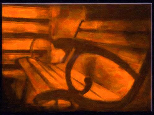 Картина Композиция с лавочкой, смешанная техника, холст, подрамник, жикле, акрил, 80х60 см, автор Светлана СергееваР2 (80х60)Картина Композиция с лавочкой будет отлично смотреть в фото или дизайн студии, а также креативных рекламных агентствах. Неожиданный ракурс лавочки, а также необычный цвет - все это придает картине таинственность и романтичность. Работа выполнена в смешанной технике с использованием акриловых красок. Натяжка на подрамник галерейная.