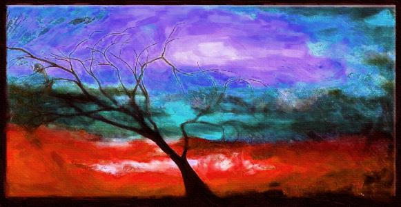 Картина Композиция с деревом №2, смешанная техника, холст, подрамник, жикле, акрил, 90х45 см, автор Светлана СергееваЦ1 (90х45)Картина Композиция с деревом №2 построена на контрасте, ярких пятнах. Современный стильный пейзаж с деревом. Яркая работа на холсте с прописью акриловыми красками и галерейной натяжкой на подрамник. Она придется по душе тем, кто хочет что-то необычное, но не готов совсем отказаться от конкретных образов природы.