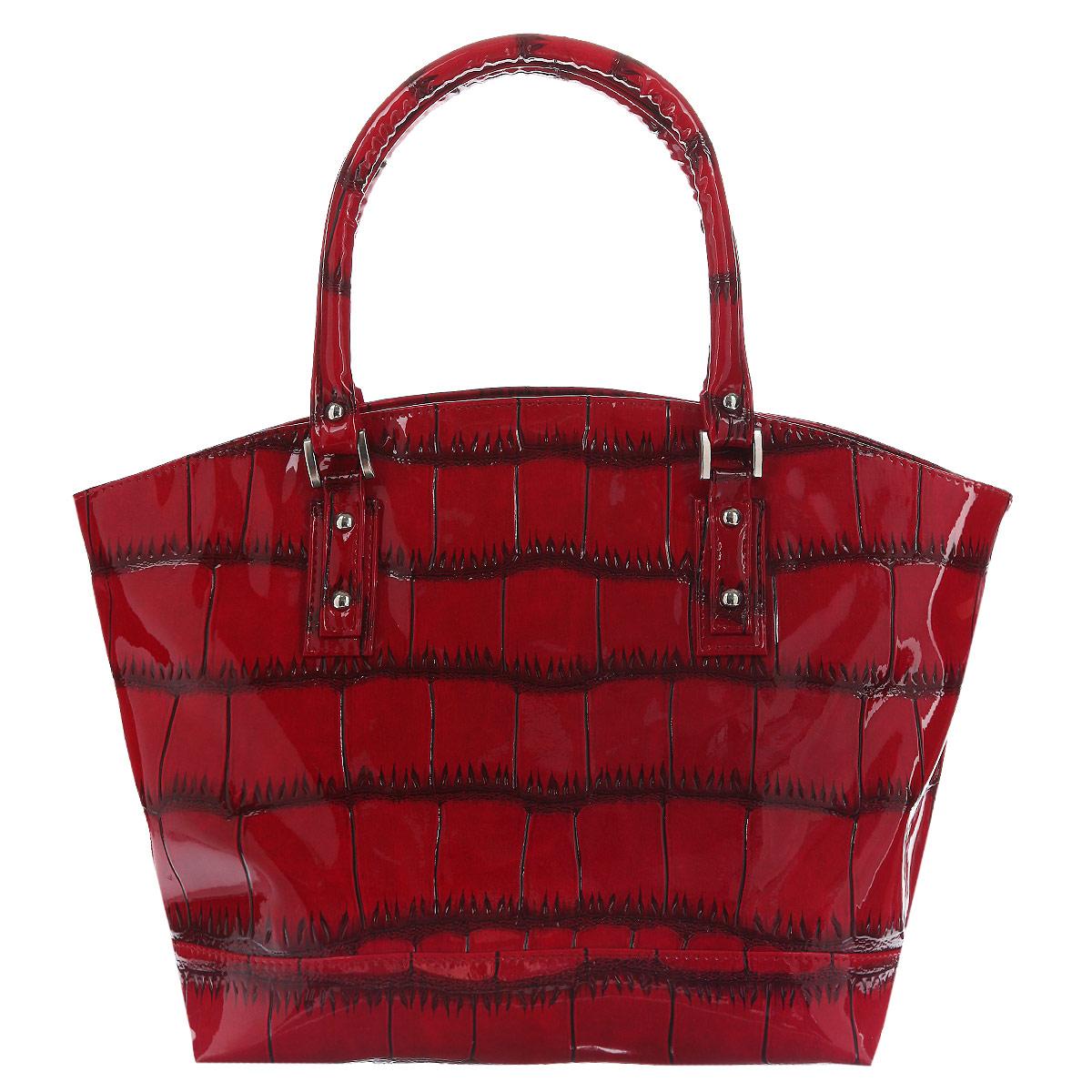 Сумка женская Antan, цвет: красный. 768 В768 В Черепаха лак/красныйЭлегантная сумка Antan Черепаха выполнена из искусственной лакированной кожи, декорирована тиснением под рептилию и дополнена стальной фурнитурой. Сумка имеет одно вместительное отделение, закрывающееся на застежку-молнию. Внутри - один прорезной карман на молнии, два накладных кармана для телефона и мелочей. Тыльная сторона сумки дополнена прорезным карманом на застежке-молнии.. Сумка - это стильный аксессуар, который подчеркнет вашу изысканность и индивидуальность и сделает ваш образ завершенным.