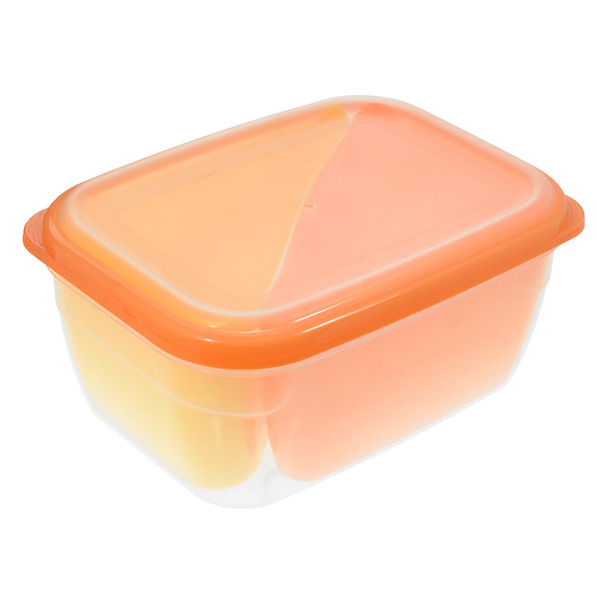 Контейнер-менажница для СВЧ Полимербыт, цвет: оранжевый, желтый, 1,8 лС56401Контейнер-менажница для СВЧ Полимербыт изготовлен из высококачественного прочного пластика, устойчивого к высоким температурам (до +120°С). Крышка плотно закрывается, дольше сохраняя продукты свежими и вкусными. Контейнер снабжен 2 цветными съемными секциями, которые позволяют хранить сразу несколько продуктов или блюд. Он идеально подходит для хранения пищи, его удобно брать с собой на работу, учебу, пикник или просто использовать для хранения пищи в холодильнике. Можно использовать в микроволновой печи и для заморозки в морозильной камере. Можно мыть в посудомоечной машине. Объем секции: 0,75 л. Размер секции: 15 см х 11 см х 8 см. Объем контейнера: 1,8 л. Размер контейнера: 20 см х 14,5 см х 8,5 см.