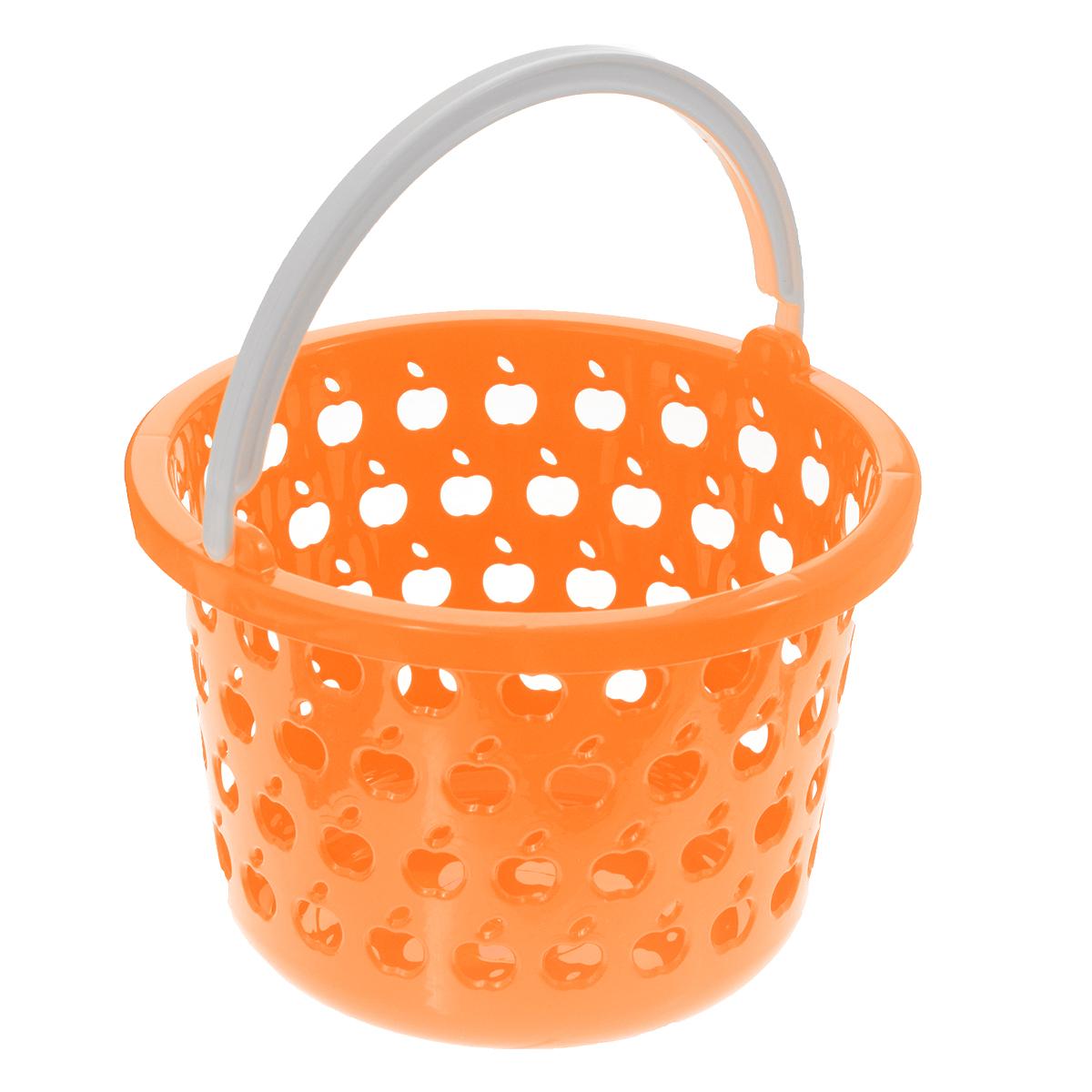 Корзина Полимербыт Стайл, цвет: оранжевый, 2,2 лС831Круглая корзина Полимербыт Стайл изготовлена из высококачественного цветного пластика и декорирована перфорацией в виде яблок. Она предназначена для хранения различных мелочей дома или на даче. Для удобства переноски имеется специальная ручка. Позволяет хранить мелкие вещи, исключая возможность их потери. Корзина очень вместительная. Элегантный выдержанный дизайн позволяет органично вписаться в ваш интерьер и стать его элементом. Диаметр: 18,5 см. Высота: 12,5 см.