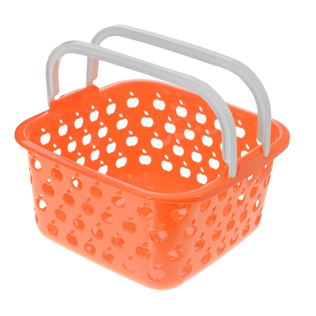 Корзина Полимербыт Стайл, цвет: оранжевый, 4 лС833Квадратная корзина Полимербыт Стайл изготовлена из высококачественного цветного пластика и декорирована перфорацией в виде яблок. Она предназначена для хранения различных мелочей дома или на даче. Для удобства переноски имеется специальная ручка. Позволяет хранить мелкие вещи, исключая возможность их потери. Корзина очень вместительная. Элегантный выдержанный дизайн позволяет органично вписаться в ваш интерьер и стать его элементом.