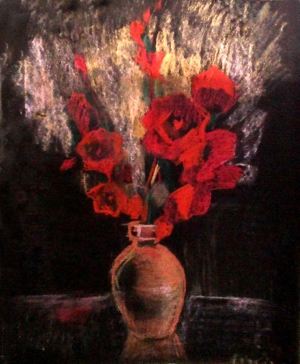 Картина Гладиолусы, пастель, тонированная бумага, 47х58 см, автор Светлана СергееваЦ5 (47х58)Картина Гладиолусы выполнена в замечательной технике - пастель. Она придется по душе тем, кто устал от традиционной живописи на холсте маслом или акрилом. Эти гладиолусы смогут порадовать, как ваших близких, маму, бабушку, так и кого-то из ваших друзей. Рисунок требует обязательного оформления в раму под стекло для сохранности.