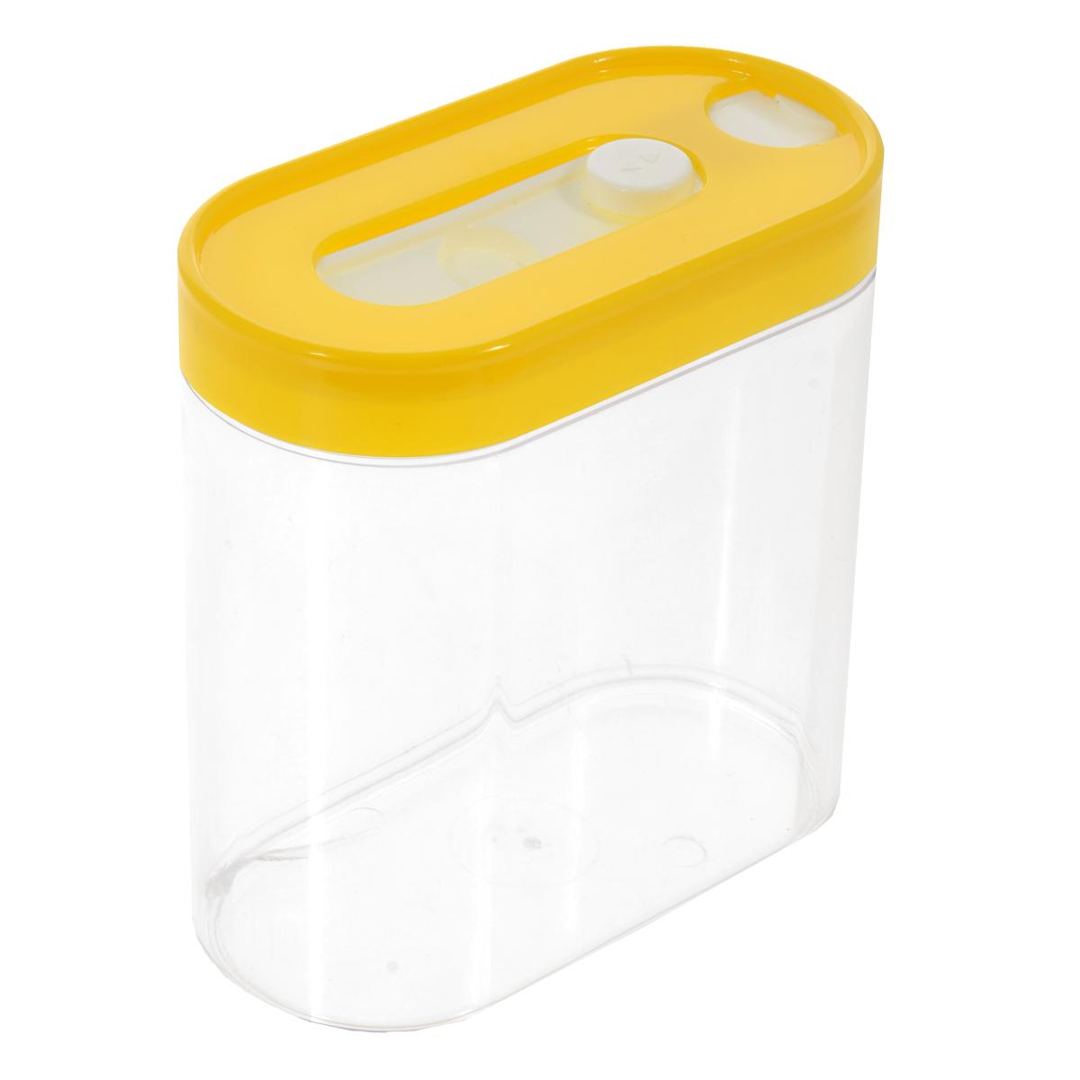Контейнер для сыпучих продуктов МТМ, цвет: желтый, 750 мл2112выКонтейнер МТМ, выполненный из высококачественного пластика, станет незаменимым помощником на кухне. В нем будет удобно хранить разнообразные сыпучие продукты, такие как крупы, кофе или специи. Прозрачный контейнер позволит следить, что и в каком количестве находится внутри. Крышка плотно прилегает к контейнеру и, в то же время, легко снимается, благодаря специальному фиксатору. Такой контейнер сэкономит место на вашей кухне.