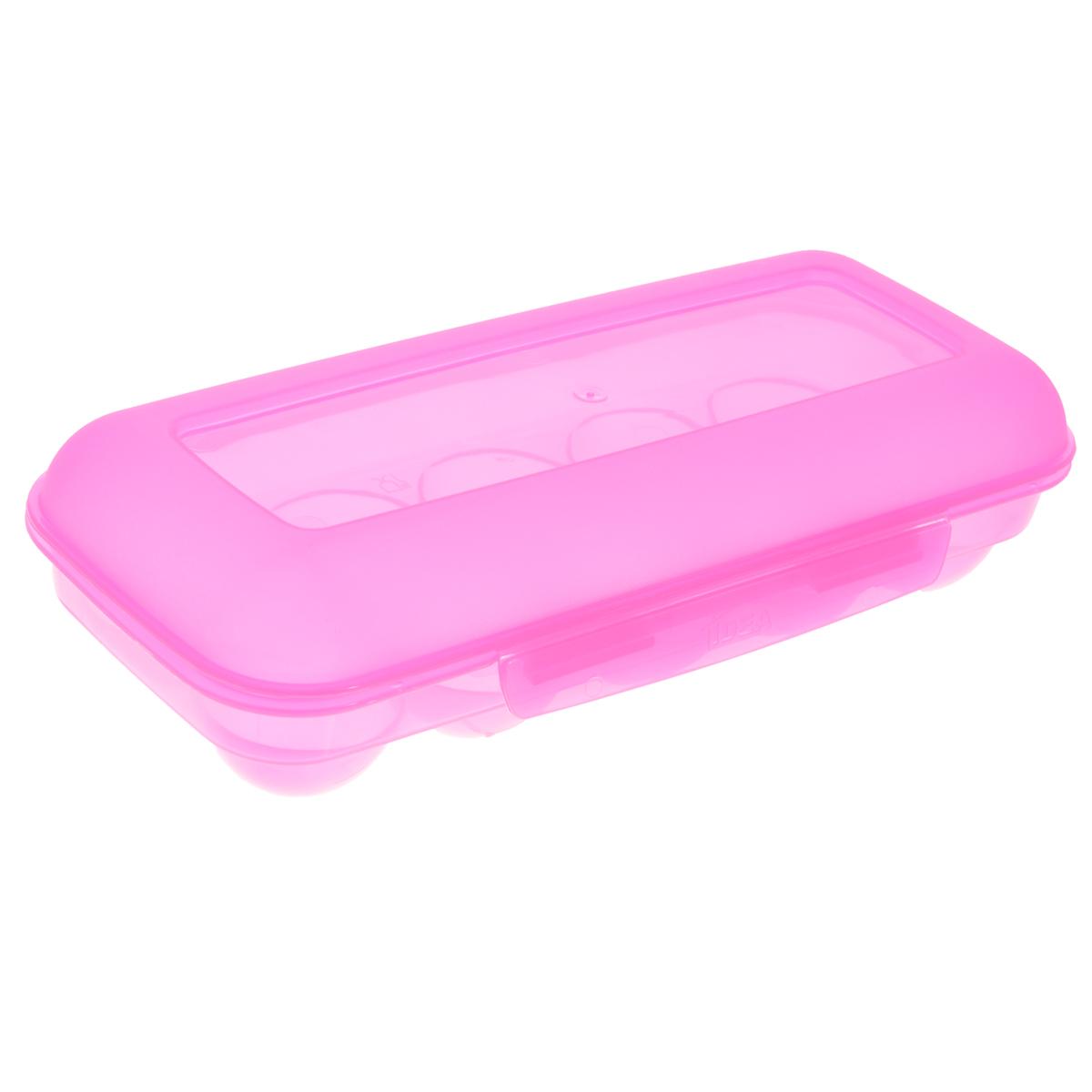 """Idea (М-пластика) Контейнер для яиц """"Idea"""", на 10 шт, цвет: розовый, 26,5 см х 11,5 см х 6,5 см"""