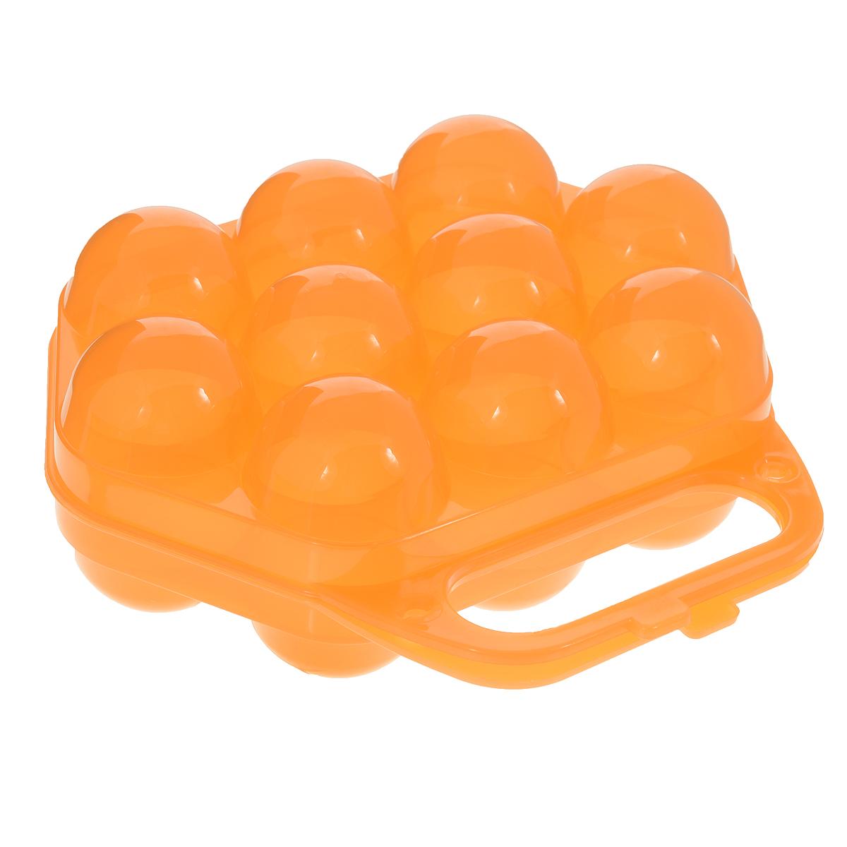 "Idea (М-пластика) Контейнер для яиц ""Idea"", на 10 шт, цвет: оранжевый, 20 х 19 х 7,5 см"