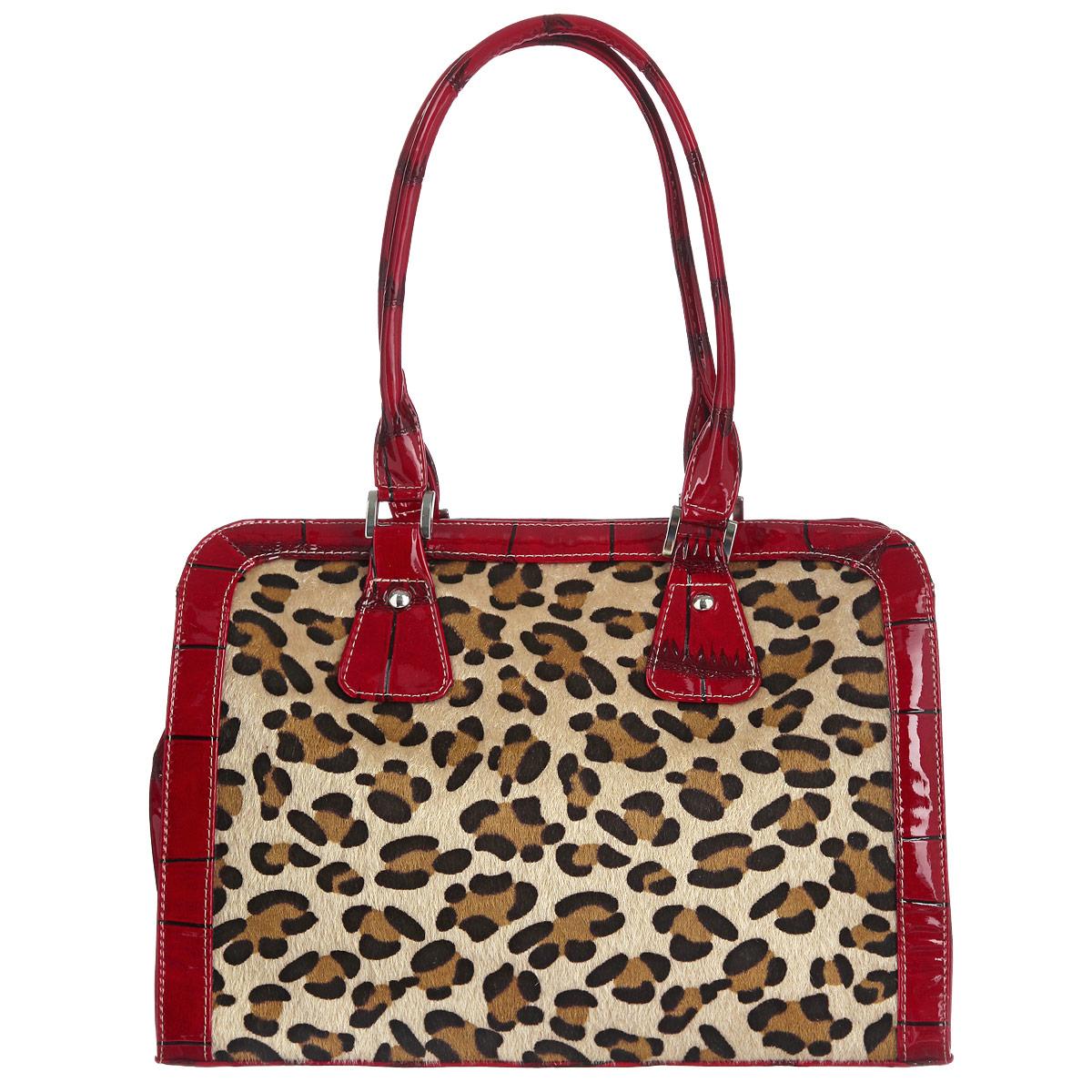 Сумка женская Antan, цвет: красный, коричневый, бежевый. 766 В766 ВОригинальна сумка Antan выполнена из искусственной лакированной кожи с тиснением под рептилию, декорирована вставкой из искусственного меха с оригинальной леопардовой расцветкой. Модель имеет одно главное отделение, закрывающееся на застежку-молнию. Внутри расположен врезной карман, закрывающийся на застежку-молнию, и два накладных кармана для телефона и мелочей. На тыльной стороне сумки имеется врезной карман на молнии. Сумка оснащена двумя удобными ручками, позволяющими носить ее и в руках, и на плече. Модная сумка подчеркнет ваш яркий стиль и сделает образ оригинальным и завершенным.