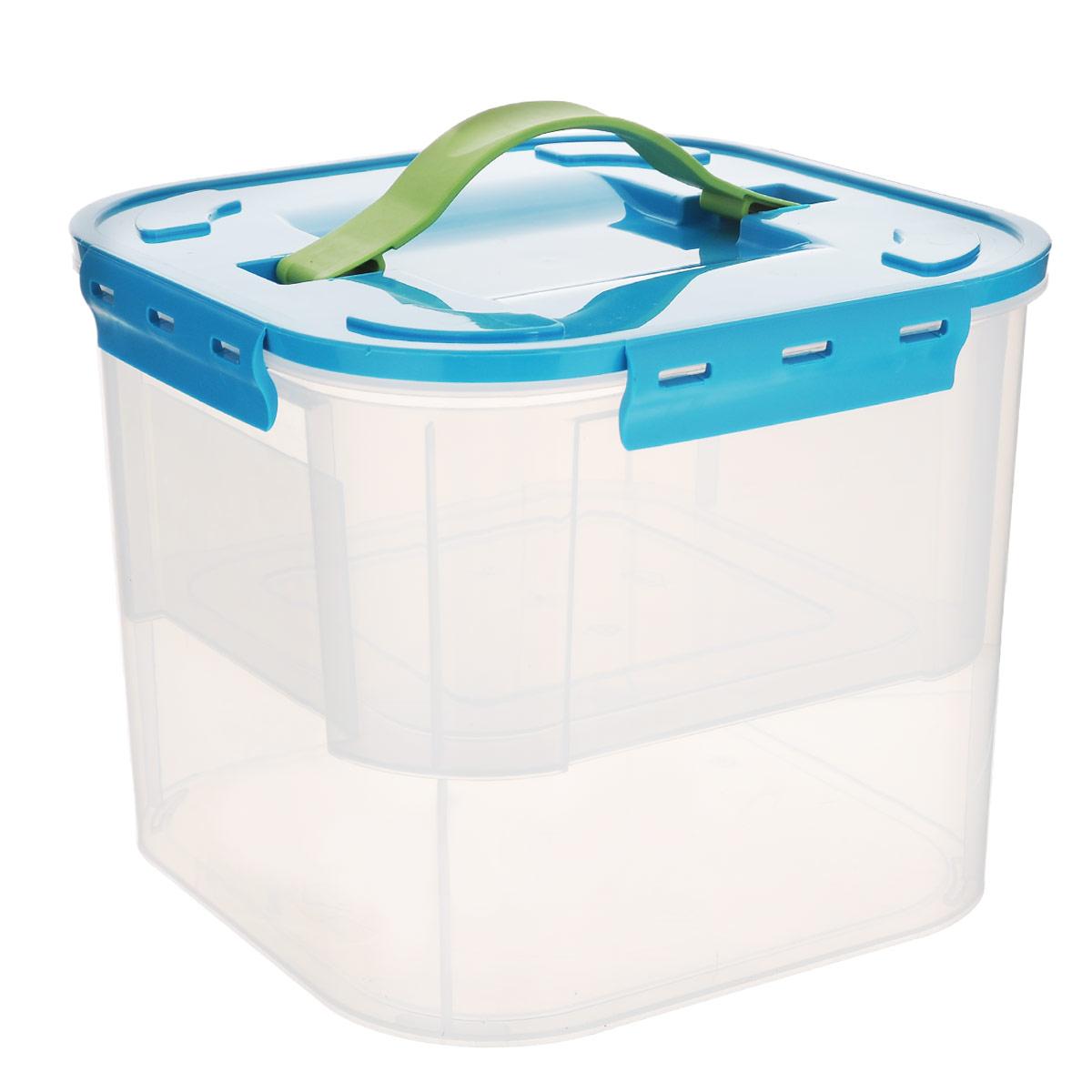 """Idea (М-пластика) Контейнер """"Idea"""", с вкладышем, цвет: бирюзовый, прозрачный, 7 л"""