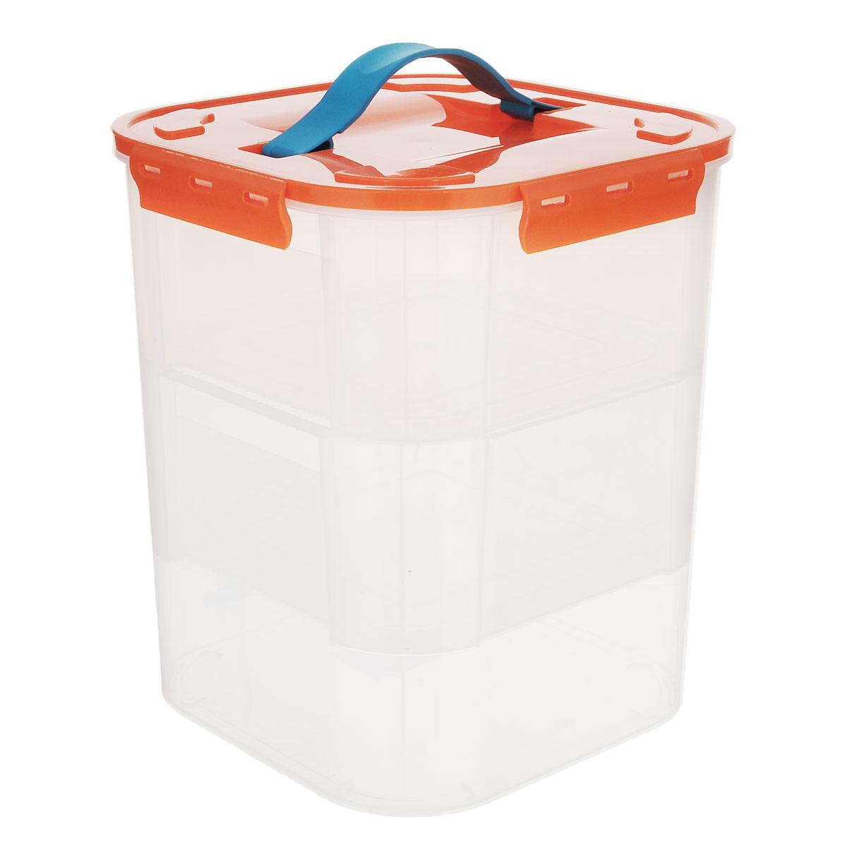 Контейнер Idea, с двумя вкладышами, цвет: оранжевый, 10 лМ 2828Контейнер Idea выполнен из прозрачного пластика. Внутрь вставляются 2 вкладыша, что позволяет удобно отделять одни предметы от других. Контейнер идеально подойдет для любых мелких бытовых предметов: канцелярии, принадлежностей для шитья и многого другого Контейнер плотно закрывается цветной крышкой с 4 защелками. Для удобства переноски сверху имеется ручка, выполненная из термоэластопласта. Контейнер Idea очень вместителен и поможет вам хранить все мелочи в одном месте.