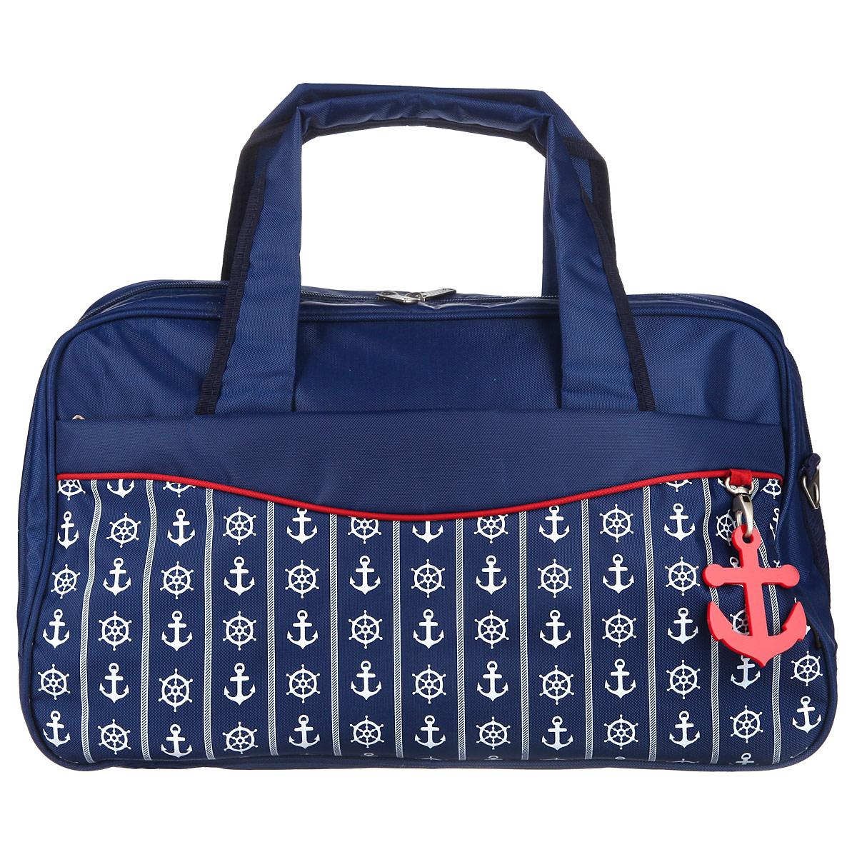 Сумка дорожная Antan Морской стиль, цвет: темно-синий. 2-4M2-4M дорожная морской стиль 2 ПЭ/синийСтильная дорожная сумка Antan Морской стиль выполнена из высококачественного материала и украшена декоративным элементом в виде якоря. Состоит сумка из одного большого отделения, закрывающегося на пластиковую застежку-молнию, внутри которого расположены прорезной карман на молнии и два накладных кармана, предназначенных для телефона и мелочей. С внешней стороны предусмотрены два больших прорезных кармана на застежках-молниях. Изделие оснащено двумя прочными ручками. В комплект входит съемный наплечный ремень, длина которого регулируется пряжкой. Дно изделия уплотнено и дополнено пятью пластиковыми ножками, обеспечивающими дополнительную устойчивость и защиту от загрязнений. Оформлена сумка оригинальным принтом на морскую тематику. Такая сумка идеально подойдет для дальних поездок, в нее можно положить все необходимое.