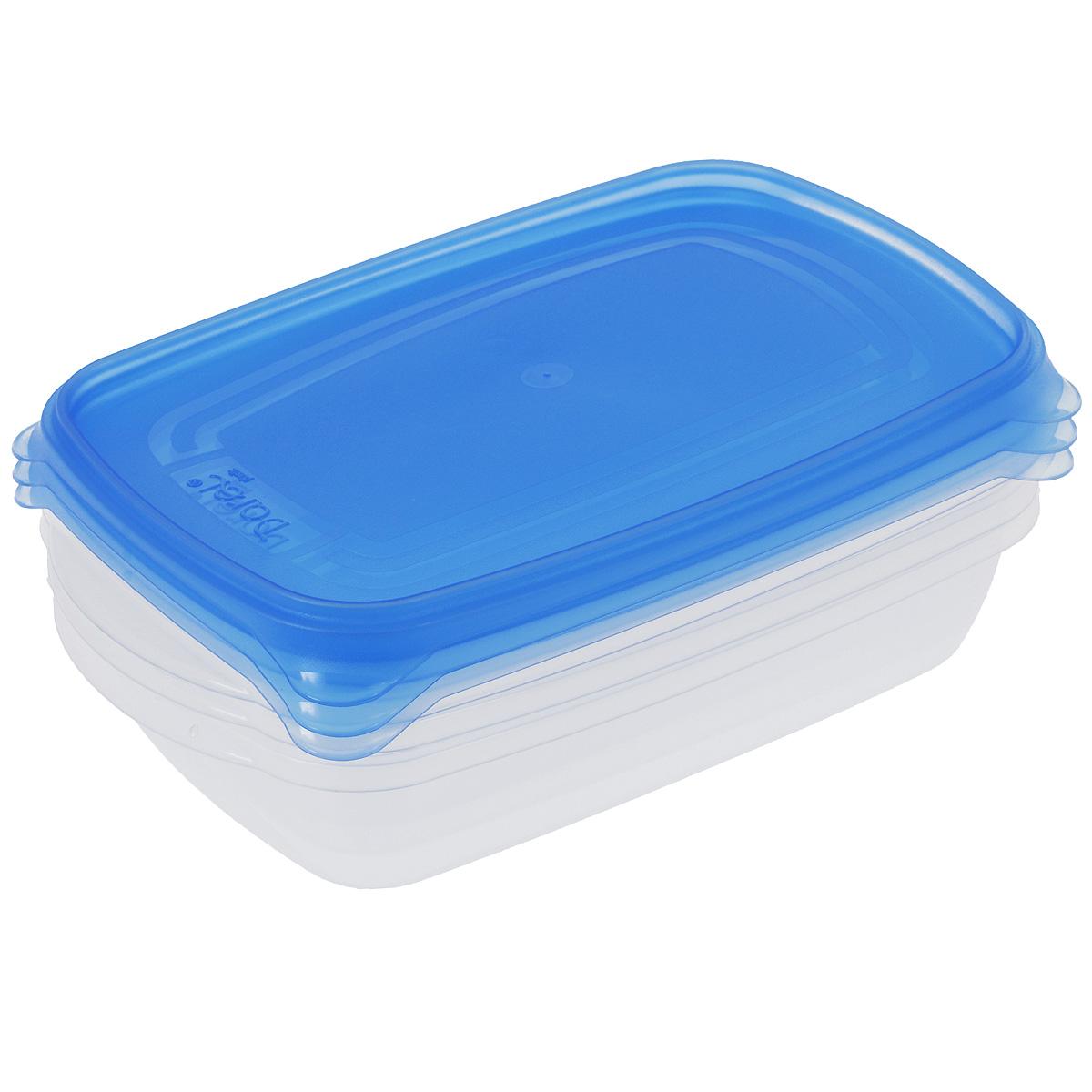 Набор контейнеров Darel, цвет: синий, 700 мл, 3 шт40401Набор Darel состоит из трех прямоугольных контейнеров. Изделия выполнены из высококачественного пищевого полипропилена. Крышки легко открываются и плотно закрываются с помощью легкого щелчка. Подходят для хранения и транспортировки пищи. Складываются друг в друга, что экономит пространство при хранении в шкафу. Контейнеры подходят для использования в микроволновой печи без крышки, а также для заморозки в морозильной камере. Можно мыть в посудомоечной машине.