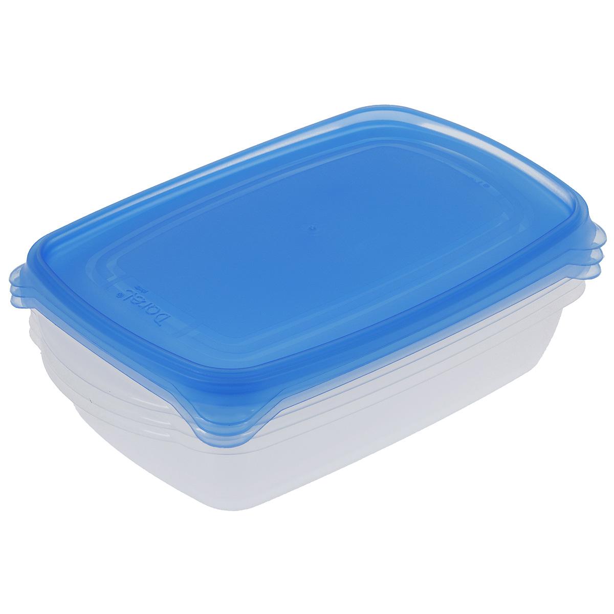 Набор контейнеров Darel, цвет: синий, 1,3 л, 3 шт40402Набор Darel состоит из трех прямоугольных контейнеров. Изделия выполнены из высококачественного пищевого полипропилена. Крышки легко открываются и плотно закрываются с помощью легкого щелчка. Подходят для хранения и транспортировки пищи. Складываются друг в друга, что экономит пространство при хранении в шкафу. Контейнеры подходят для использования в микроволновой печи без крышек, а также для заморозки в морозильной камере. Можно мыть в посудомоечной машине.