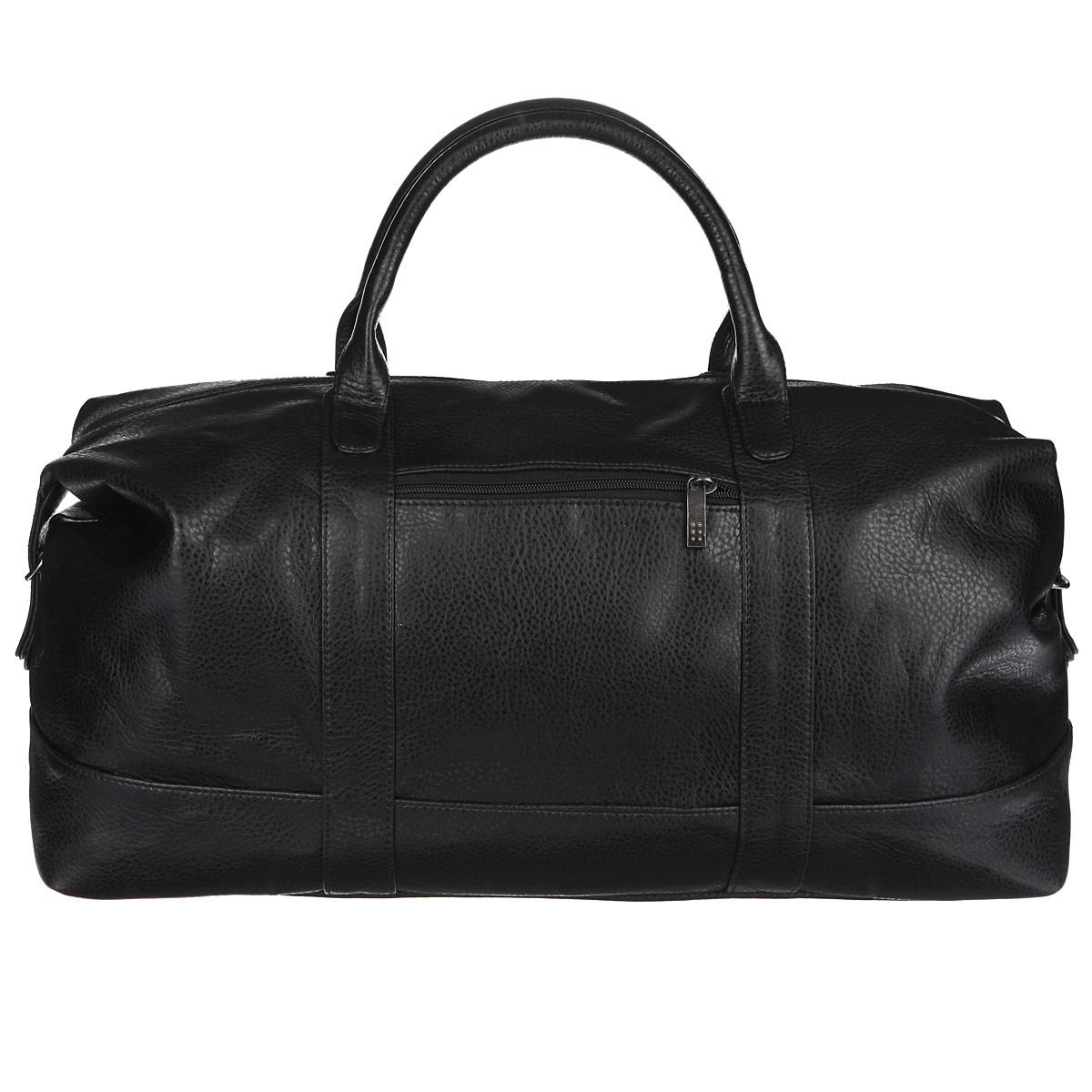 Сумка дорожная Antan, цвет: черный. 2-229 В2-229 ВВместительная дорожная сумка Antan выполнена из искусственной кожи с фактурной поверхностью. Ручки-жгуты прочно крепятся к корпусу сумки. Сумка имеет одно отделение, закрывающееся на застежку-молнию. Внутри - врезной карман на застежке-молнии. С внешней стороны на передней стенке сумки предусмотрен дополнительный карман на молнии. Сумка оснащена съемным плечевым ремнем регулируемой длины. Дно дополнено пластиковыми ножками, защищающими изделие от повреждений. Такая сумка будет незаменима при походе в спортзал или при дальней поездке.