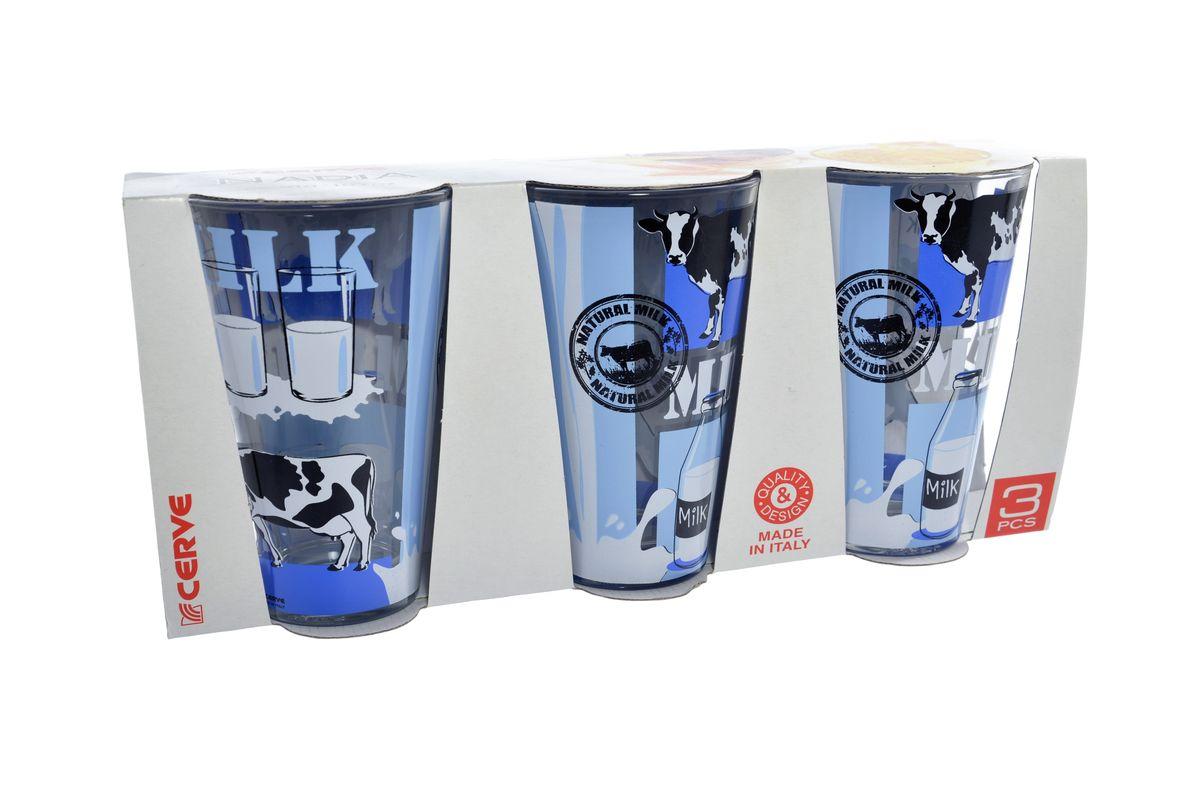 Набор стаканов Cerve Молоко, 310 мл, 3 штCEM37440Набор Cerve Молоко состоит из трех стаканов, изготовленных из высококачественного стекла. Внешние стенки оформлены красочным рисунком. Такие стаканы прекрасно подойдут для молока, сока, воды, лимонада и других напитков. Они ярко оформят стол и станут прекрасным дополнением к коллекции вашей кухонной посуды. Можно мыть в посудомоечной машине. Диаметр стакана (по верхнему краю): 8 см. Высота стакана: 12,5 см.