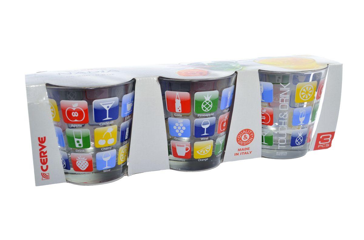 Набор стаканов Cerve Эппл, 250 мл, 3 штCEM46400Набор Cerve Эппл состоит из трех низких стаканов, изготовленных из высококачественного стекла. Внешние стенки оформлены красочным рисунком. Такие стаканы прекрасно подойдут для сока, воды, лимонада и других напитков. Они ярко оформят стол и станут прекрасным дополнением к коллекции вашей кухонной посуды. Можно мыть в посудомоечной машине. Диаметр стакана (по верхнему краю): 8,5 см. Высота стакана: 9 см.