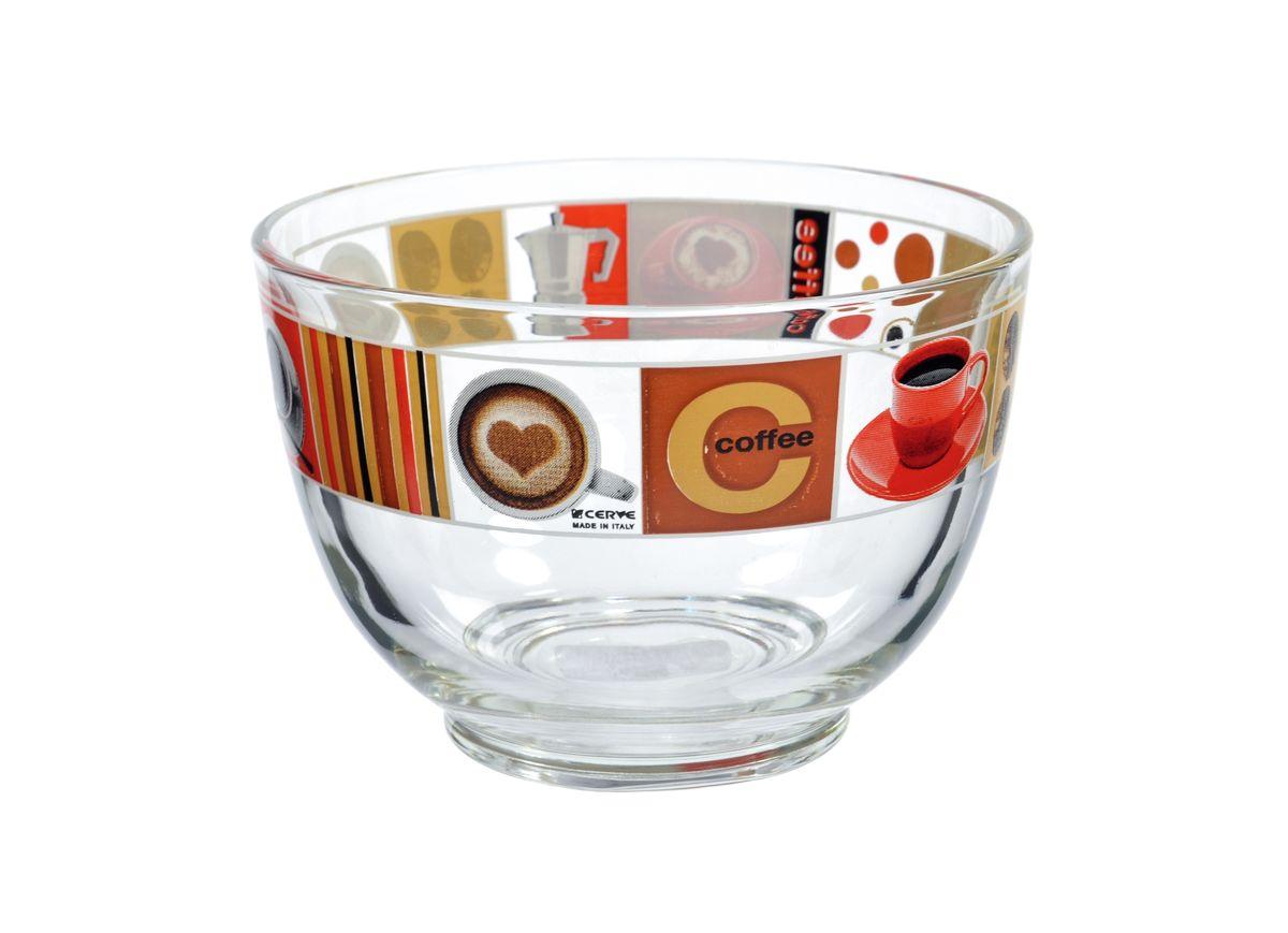 Салатница Cerve Любимый кофе, цвет: прозрачный, красный, 690 млCEM50090Салатница Cerve Любимый кофе изготовлена из прочного стекла и декорирована красочным рисунком. Она легко моется в теплой воде. Яркая салатница станет украшением вашего стола и прекрасно подойдет для использования, как дома, так и на даче или пикниках. Можно мыть в посудомоечной машине. Объем салатницы: 690 мл. Диаметр салатницы (по верхнему краю): 13 см. Высота стенки салатницы: 9 см.