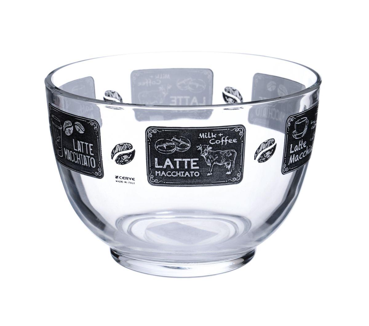 Салатница Cerve Кофейня, цвет: прозрачный, черный, 690 млCEM52900Салатница Cerve Кофейня изготовлена из прочного стекла и декорирована красочным рисунком. Она легко моется в теплой воде. Яркая салатница станет украшением вашего стола и прекрасно подойдет для использования, как дома, так и на даче или пикниках. Можно мыть в посудомоечной машине. Объем салатницы: 690 мл. Диаметр салатницы (по верхнему краю): 13 см. Высота стенки салатницы: 9 см.