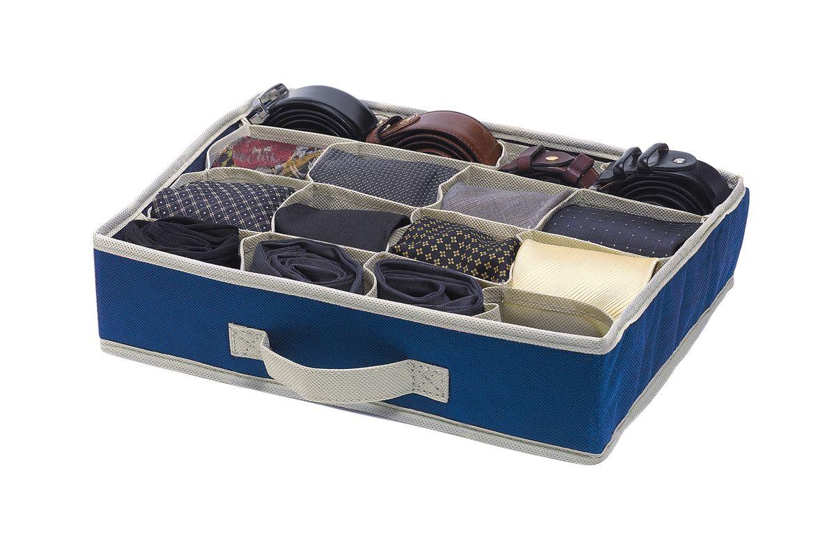 Чехол-коробка д/одежды 16 отд. 2шт.. COVLCST002COVLCST002Практичный и долговечный горизонтальный чехол с 16 отделениями из нетканого синтетического материала ПВХ для более экономичного использования пространства шкафов и комодов. Нижнее белье, купальники, ремни и прочие мелкие предметы будут всегда находиться на своем месте в самом лучшем виде. Дышащий, без запаха, чехол легко моется в случае загрязнения или протирается влажной тряпкой или салфеткой. Исключительно прост в сборке: достаточно просто раскрыть чехол и установить его на полку шкафа или в ящик комода, расправив боковые стенки. Идеальное средство защиты от пыли, моли и загрязнений.