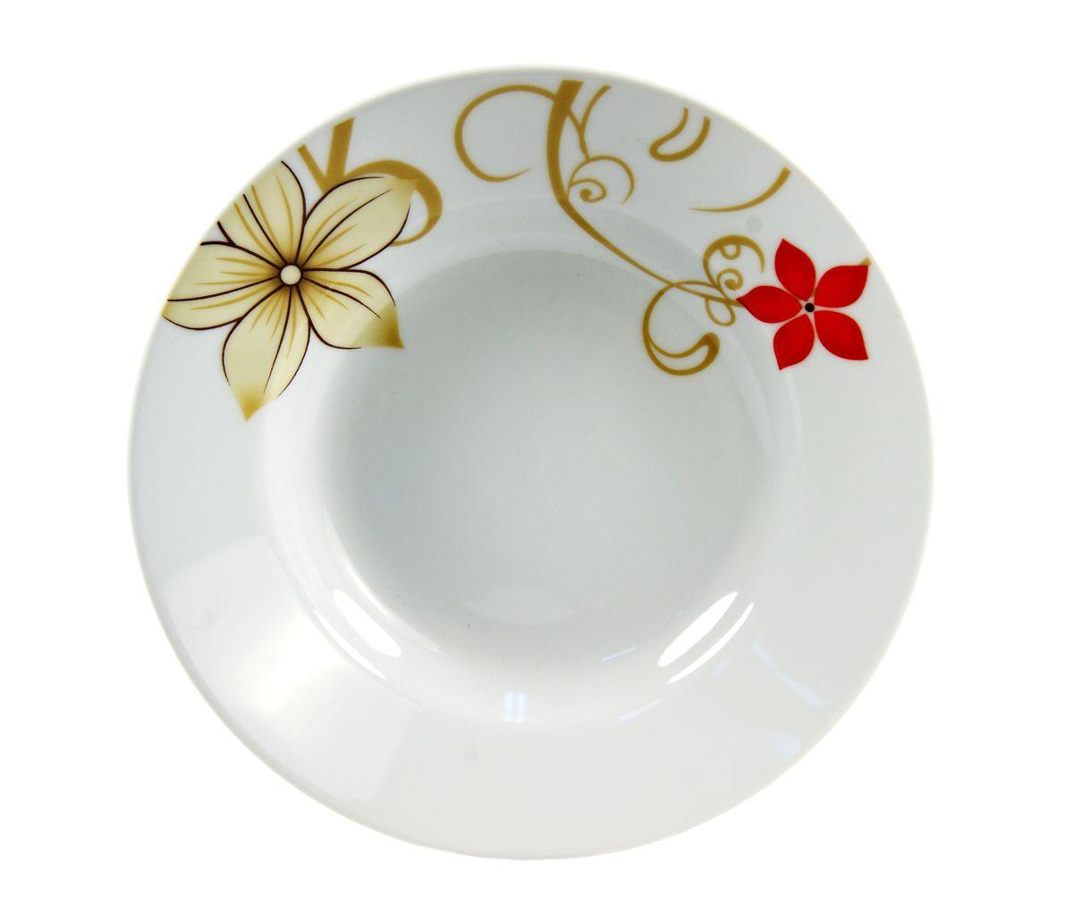 Тарелка глубокая Dasen Магнолия, диаметр 20 смDNDS-9000-2Тарелка глубокая Dasen Магнолия изготовлена из высококачественной керамики. Предназначена для красивой подачи различных блюд. Изделие декорировано ярким рисунком. Такая тарелка украсит сервировку стола и подчеркнет прекрасный вкус хозяйки. Можно мыть в посудомоечной машине и использовать в СВЧ. Диаметр: 20 см. Высота: 3,5 см.