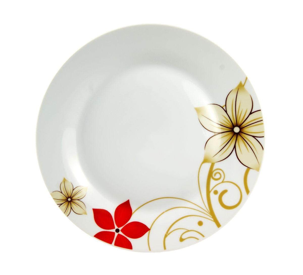 Тарелка десертная Dasen Магнолия, диаметр 19 смDNDS-9000-3Десертная тарелка Dasen Магнолия, изготовленная из высококачественной керамики, предназначена для красивой подачи различных блюд. Изделие декорировано изящным рисунком цветов и имеет изысканный внешний вид. Такая тарелка украсит сервировку стола и подчеркнет прекрасный вкус хозяйки. Можно мыть в посудомоечной машине и использовать в микроволновой печи. Диаметр: 19 см. Высота: 1,5 см.