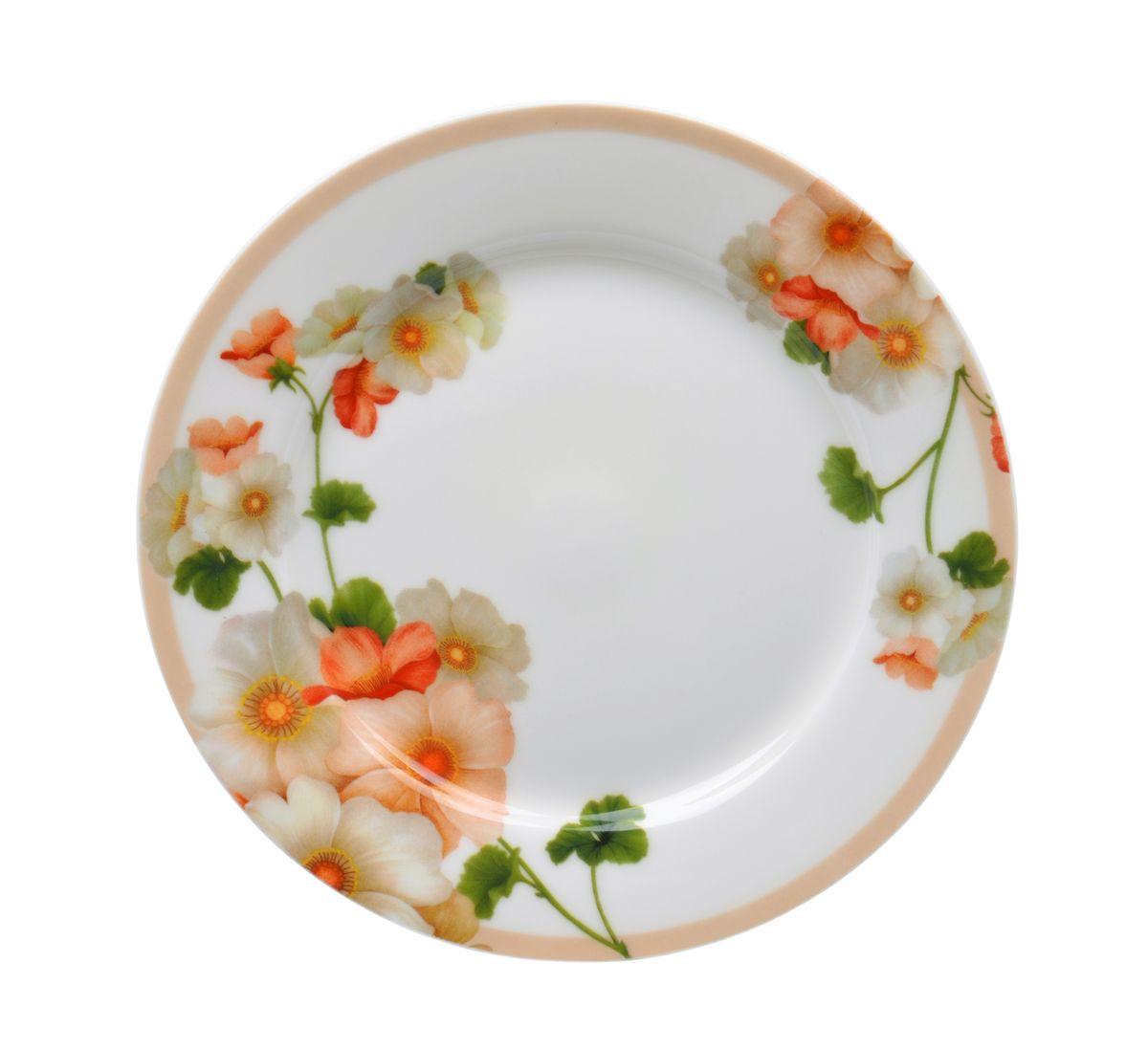 Тарелка десертная Nanshan Porcelain Мальва, диаметр 19 смGNNSML00175Тарелка десертная Nanshan Porcelain Мальва изготовлена из высококачественного фарфора. Предназначена для красивой подачи различных блюд. Изделие декорировано цветочным рисунком. Такая тарелка украсит сервировку стола и подчеркнет прекрасный вкус хозяйки. Можно мыть в посудомоечной машине и использовать в СВЧ. Диаметр: 19 см. Высота: 1,5 см.