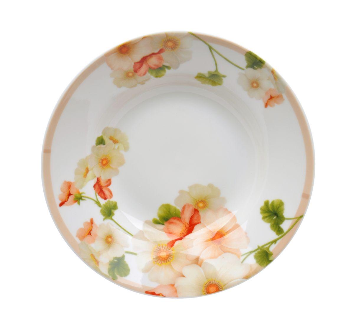 Тарелка глубокая Nanshan Pocelain Мальва, диаметр 20 смGNNSML00180Глубокая тарелка Nanshan Pocelain Мальва изготовлена из твердого фарфора и украшена изящным цветочным рисунком. При изготовлении посуды применяются подглазурные деколи, что защищает рисунок от истирания и продлевает срок эксплуатации посуды. Посуда безопасна для здоровья и окружающей среды, не содержит свинец и кадмий. Пригодна для использования в СВЧ и посудомоечной машине.