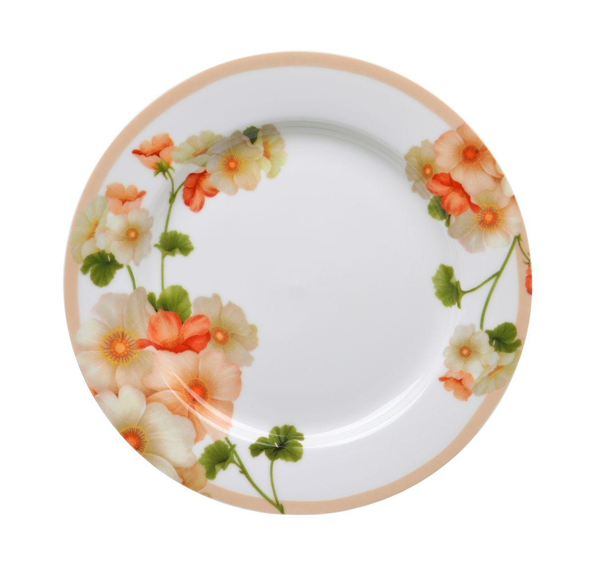 Тарелка для горячего Nanshan Porcelain Мальва, диаметр 23 смGNNSML00190Тарелка для горячего Nanshan Porcelain Мальва изготовлена из высококачественного фарфора. Предназначена для красивой подачи различных блюд. Изделие декорировано ярким цветочным рисунком. Такая тарелка украсит сервировку стола и подчеркнет прекрасный вкус хозяйки. Можно мыть в посудомоечной машине и использовать в СВЧ. Диаметр: 22,5 см. Высота: 2 см.
