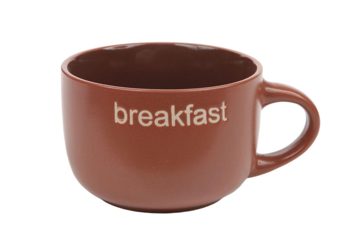 Чашка Wing Star, цвет: коричневый, 460 мл. LJ8882-MPB21LJ8882-MPB21Чашка Wing Star изготовлена из керамики и украшена надписью Breakfast. Wing Star - качественная керамическая посуда из обожженной, глазурованной снаружи и изнутри глины с оригинальными рисунками. При изготовлении данной посуды широко используется рельефный способ нанесения декора, когда рельефная поверхность подготавливается в процессе формовки и изделие обрабатывается с уже готовым декором. Благодаря этому достигается эффект неровного на ощупь рисунка, как бы утопленного внутрь глазури и являющегося его естественным элементом. Чашку можно использовать в СВЧ и мыть в посудомоечной машине. Диаметр (по верхнему краю): 11 см. Высота стенки: 7,5 см. Объем чашки: 460 мл.