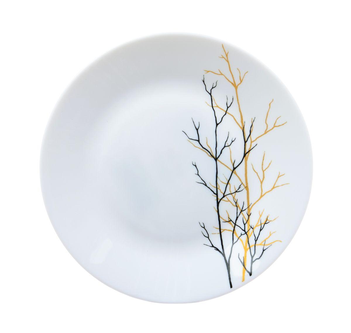Тарелка десертная La Opala Золотая осень, диаметр 19 смOPAF002Тарелка десертная La Opala Золотая осень изготовлена из высококачественной стеклокерамики. Предназначена для красивой подачи различных блюд. Изделие украшено ярким рисунком. Такая тарелка украсит сервировку стола и подчеркнет прекрасный вкус хозяйки. Можно мыть в посудомоечной машине и использовать в микроволновой печи. Диаметр: 19 см. Высота: 2 см.