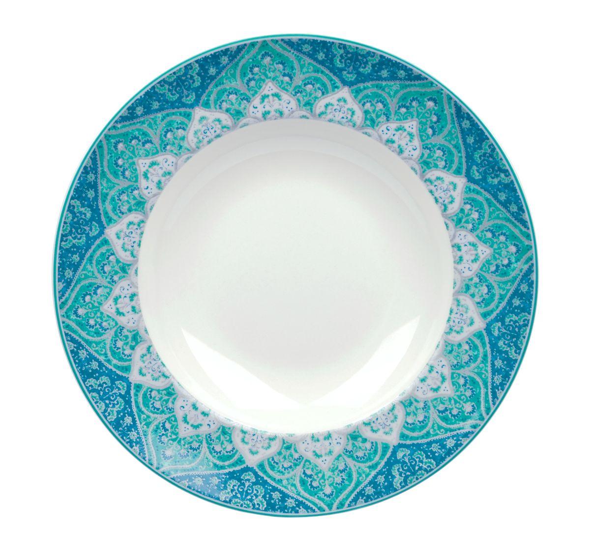 Тарелка глубокая Utana Кашан Блю, диаметр 24 смUTKB94920Тарелка Utana Кашан Блю изготовлена из высококачественной керамики. Предназначена для подачи супа или салата. Изделие декорировано оригинальным орнаментом. Такая тарелка украсит сервировку стола и подчеркнет прекрасный вкус хозяйки. Можно мыть в посудомоечной машине и использовать в СВЧ. Диаметр: 24 см. Высота: 4,5 см.