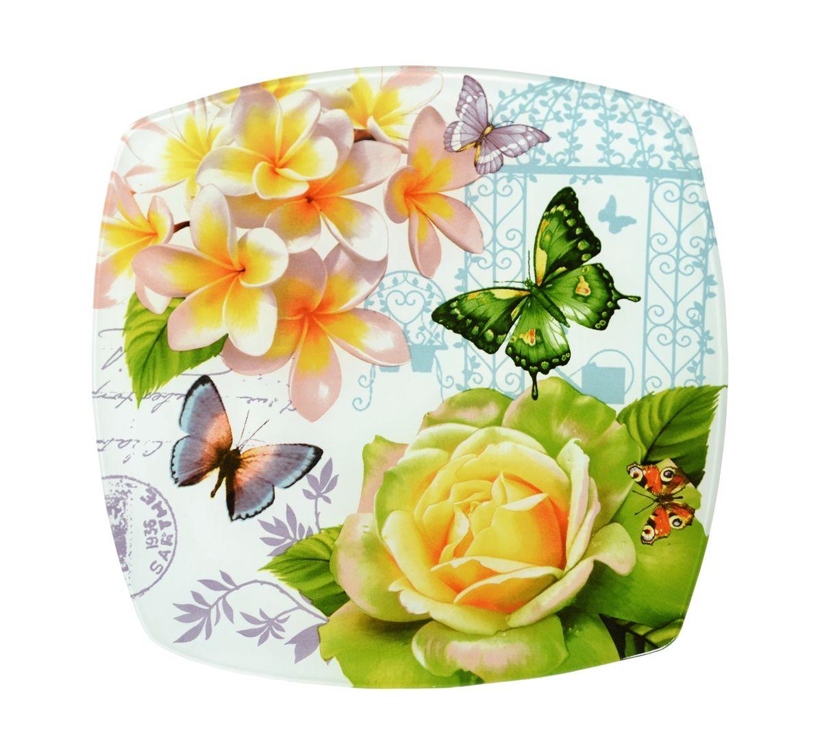 Тарелка Zibo Shelley Бабочки, 25 см х 25 смZSBB350010BКвадратная тарелка Zibo Shelley Бабочки, изготовленная из стекла, декорирована ярким изображением. Она не только украсит сервировку вашего стола и подчеркнет прекрасный вкус хозяина, но и станет отличным подарком. Можно использовать в посудомоечной машине и СВЧ. Размер по верхнему краю: 25 см х 25 см. Высота: 1,9 см.