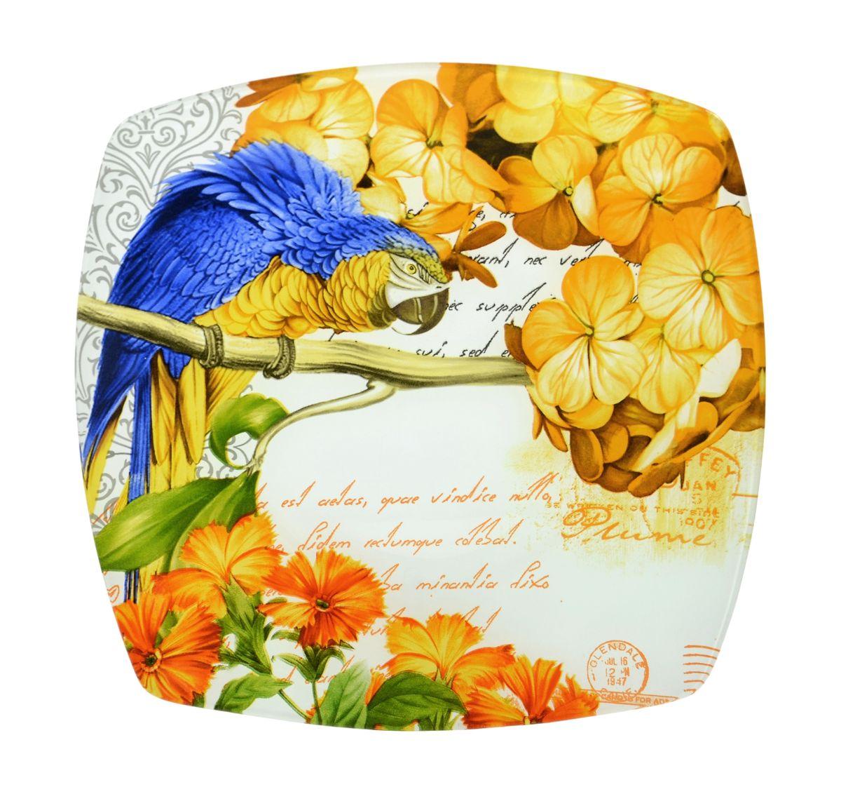 Тарелка Zibo Shelley Попугай, 20 см х 20 смZSPP350008BТарелка Zibo Shelley Попугай изготовлена из высококачественного стекла. Предназначена для красивой подачи различных блюд. Изделие декорировано изображением попугая и цветов. Такая тарелка украсит сервировку стола и подчеркнет прекрасный вкус хозяйки. Не рекомендуется мыть в посудомоечной машине и использовать в СВЧ. Размер тарелки (по верхнему краю): 20 см х 20 см. Высота: 2,5 см.