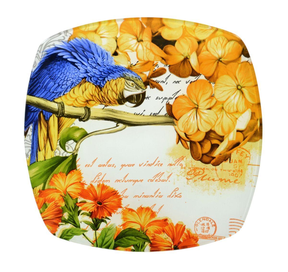 Тарелка Zibo Shelley Попугай, 25 х 25 смZSPP350010BКвадратная тарелка Zibo Shelley Попугай, изготовленная из стекла, декорирована ярким изображением. Она не только украсит сервировку вашего стола и подчеркнет прекрасный вкус хозяина, но и станет отличным подарком. Можно использовать в посудомоечной машине и СВЧ. Размер по верхнему краю: 25 см х 25 см. Высота: 1,9 см.