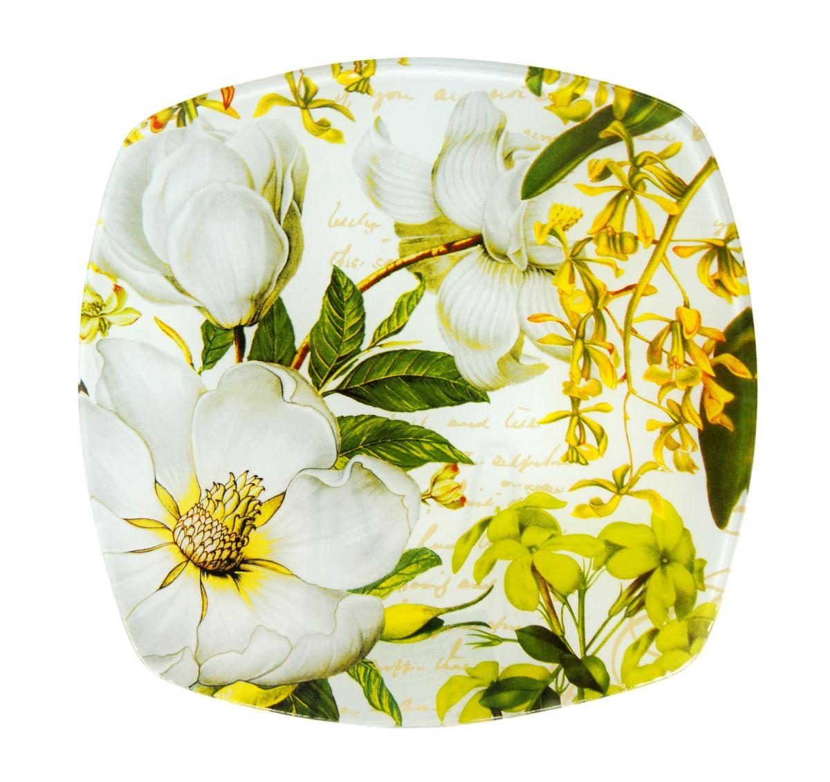 Тарелка Zibo Shelley Белая роза, 25 х 25 смZSWR350010Квадратная тарелка Zibo Shelley Белая роза, изготовленная из стекла, декорирована ярким изображением цветов. Она не только украсит сервировку вашего стола и подчеркнет прекрасный вкус хозяина, но и станет отличным подарком. Можно использовать в посудомоечной машине и СВЧ. Размер по верхнему краю: 25 см х 25 см. Высота: 1,9 см.