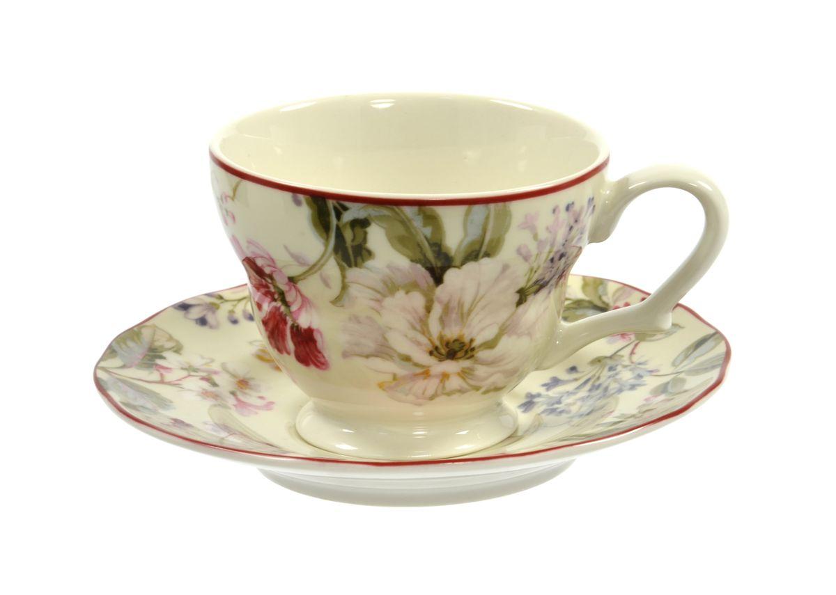 Чашка с блюдцем Utana Жизела, 200 млUTGC97301/2Чашка с блюдцем Utana Жизела изготовлены из высококачественной керамики и декорированы оригинальным рисунком. Они прекрасно подойдут для вашей кухни и великолепно украсят стол. Изящный дизайн и красочность оформления чашки и блюдца придутся по вкусу и ценителям классики, и тем, кто предпочитает утонченность и изысканность. Можно использовать в посудомоечной машине и СВЧ. Объем кружки: 200 мл. Диметр кружки по верхнему краю: 9 см. Высота кружки: 7 см. Диаметр блюдца: 15 см.