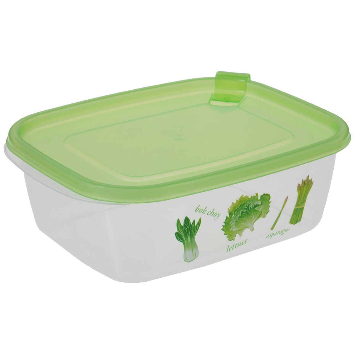 Контейнер Бытпласт Phibo, цвет: зеленый, 1,25 лС11704Контейнер Бытпласт Phibo прямоугольной формы, изготовленный из прочного пластика, предназначен специально для хранения пищевых продуктов. Контейнер, декорированный изображением овощей, оснащен герметичной крышкой со специальным клапаном, благодаря которому внутри создается вакуум, и продукты дольше сохраняют свежесть и аромат. Крышка легко открывается и плотно закрывается. Прозрачные стенки позволяют видеть содержимое. Контейнер устойчив к воздействию масел и жиров, легко моется. Контейнер имеет возможность хранения продуктов глубокой заморозки, обладает высокой прочностью. Можно мыть в посудомоечной машине. Подходит для использования в микроволновых печах.