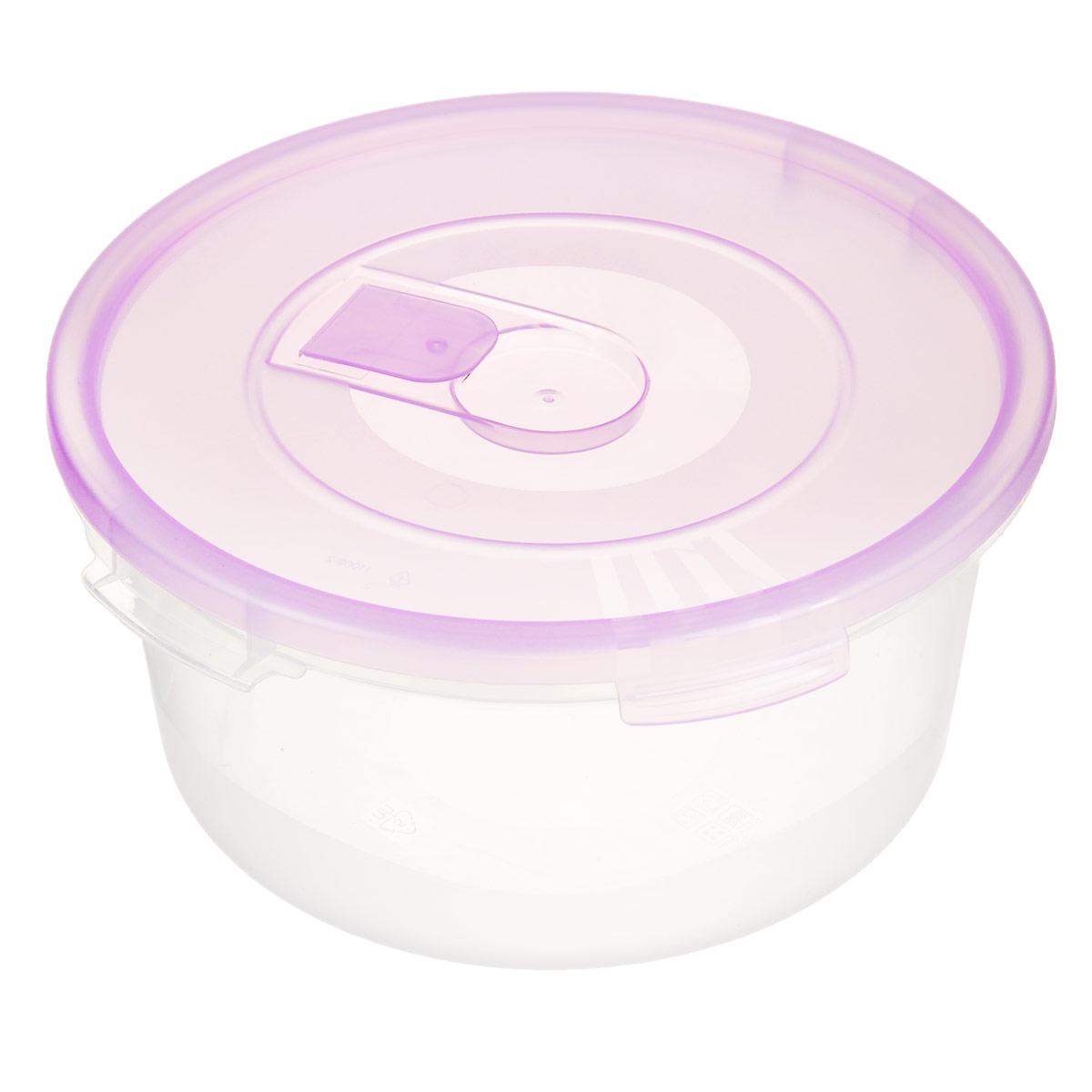 Контейнер Полимербыт Смайл, цвет: прозрачный, сиреневый, 1,6 лС522Контейнер Полимербыт Смайл круглой формы, изготовленный из прочного пластика, предназначен специально для хранения пищевых продуктов. Контейнер оснащен герметичной крышкой со специальным клапаном, благодаря которому внутри создается вакуум, и продукты дольше сохраняют свежесть и аромат. Крышка легко открывается и плотно закрывается. Стенки контейнера прозрачные - хорошо видно, что внутри. Контейнер устойчив к воздействию масел и жиров, легко моется. Имеет возможность хранения продуктов глубокой заморозки, обладает высокой прочностью. Можно мыть в посудомоечной машине. Подходит для использования в микроволновых печах. Диаметр: 20 см. Высота (без крышки): 9 см.