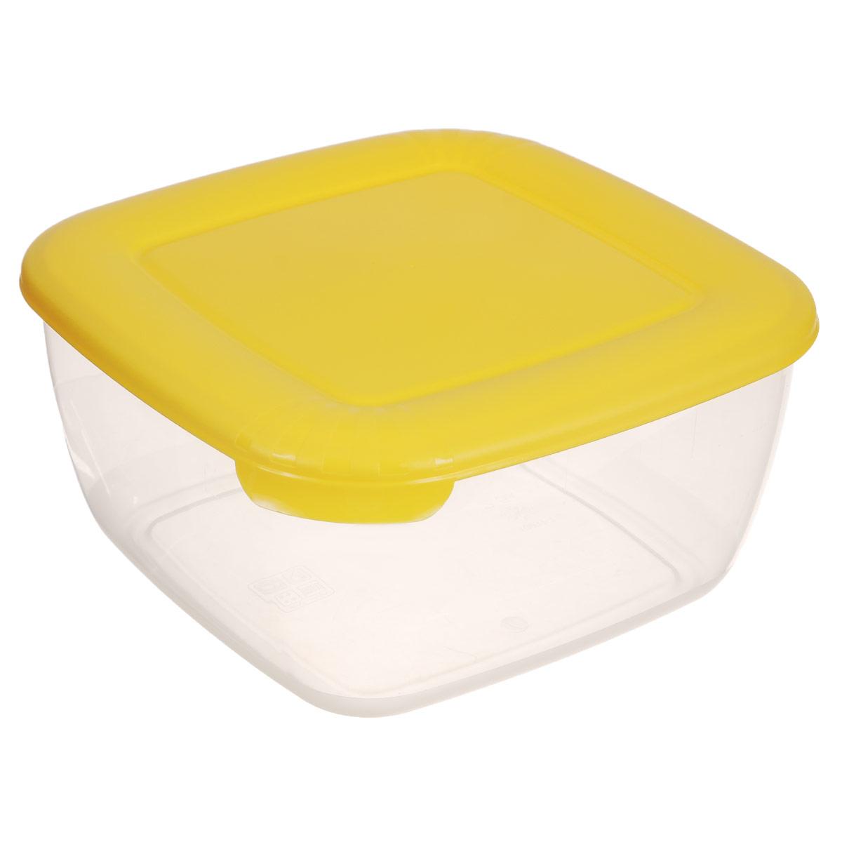 Контейнер Полимербыт Лайт, цвет: желтый, 2,5 лС544Контейнер Полимербыт Лайт квадратной формы, изготовленный из прочного пластика, предназначен специально для хранения пищевых продуктов. Крышка легко открывается и плотно закрывается. Контейнер устойчив к воздействию масел и жиров, легко моется. Прозрачные стенки позволяют видеть содержимое. Контейнер имеет возможность хранения продуктов глубокой заморозки, обладает высокой прочностью. Подходит для использования в микроволновых печах. Можно мыть в посудомоечной машине.
