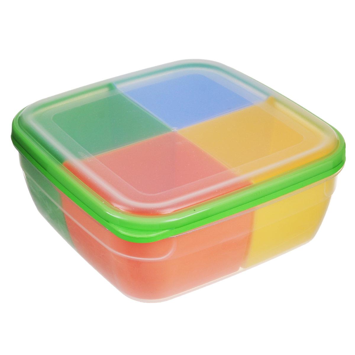 Контейнер-менажница для СВЧ Полимербыт, с крышкой, цвет: прозрачный, зеленый, голубой, 2,2 лС56701Контейнер-менажница для СВЧ Полимербыт изготовлен из высококачественного прочного пластика, устойчивого к высоким температурам (до +120°С). Крышка плотно закрывается, дольше сохраняя продукты свежими и вкусными. Контейнер снабжен 4 цветными съемными секциями, которые позволяют хранить сразу несколько продуктов или блюд. Он идеально подходит для хранения пищи, его удобно брать с собой на работу, учебу, пикник или просто использовать для хранения пищи в холодильнике. Можно использовать в микроволновой печи и для заморозки в морозильной камере. Можно мыть в посудомоечной машине. Размер секции: 9 х 9 х 7 см.